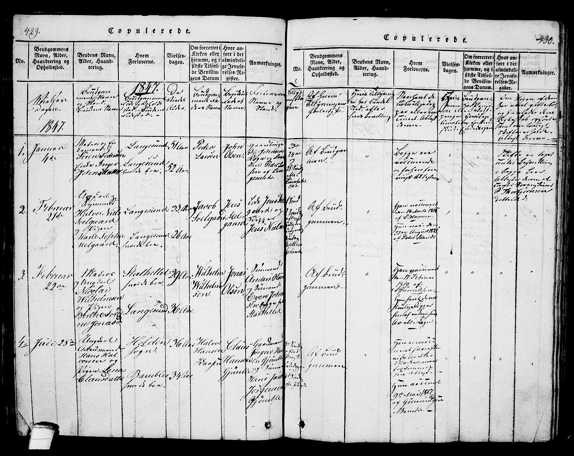 SAKO, Langesund kirkebøker, G/Ga/L0003: Klokkerbok nr. 3, 1815-1858, s. 429-430