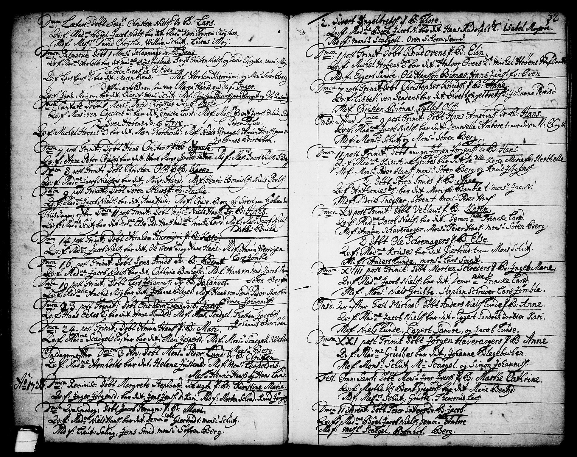 SAKO, Brevik kirkebøker, F/Fa/L0002: Ministerialbok nr. 2, 1720-1764, s. 32