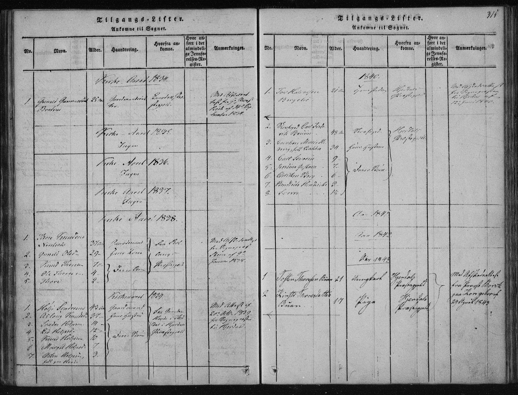 SAKO, Tinn kirkebøker, F/Fa/L0004: Ministerialbok nr. I 4, 1815-1843, s. 315