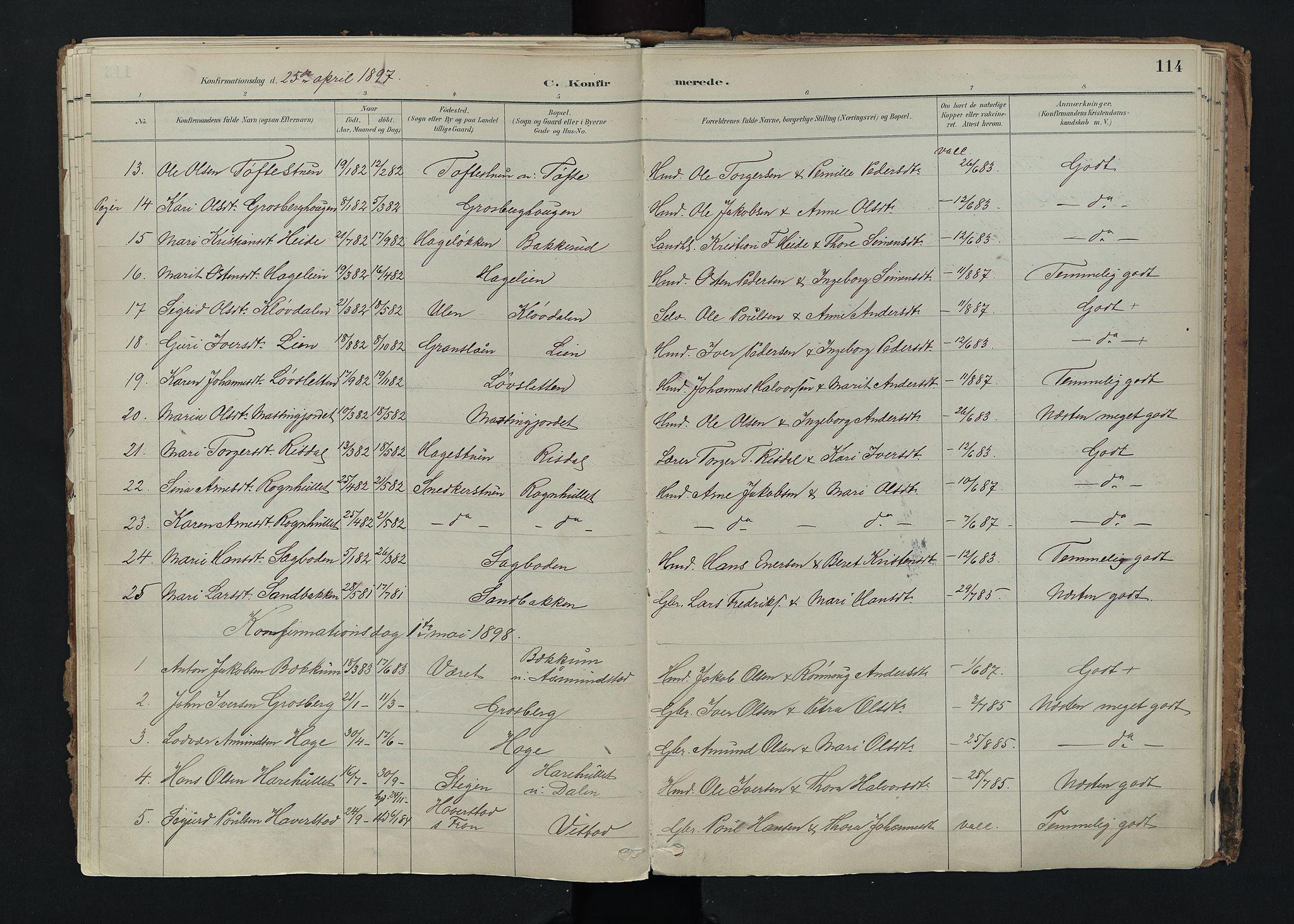 SAH, Nord-Fron prestekontor, Ministerialbok nr. 5, 1884-1914, s. 114