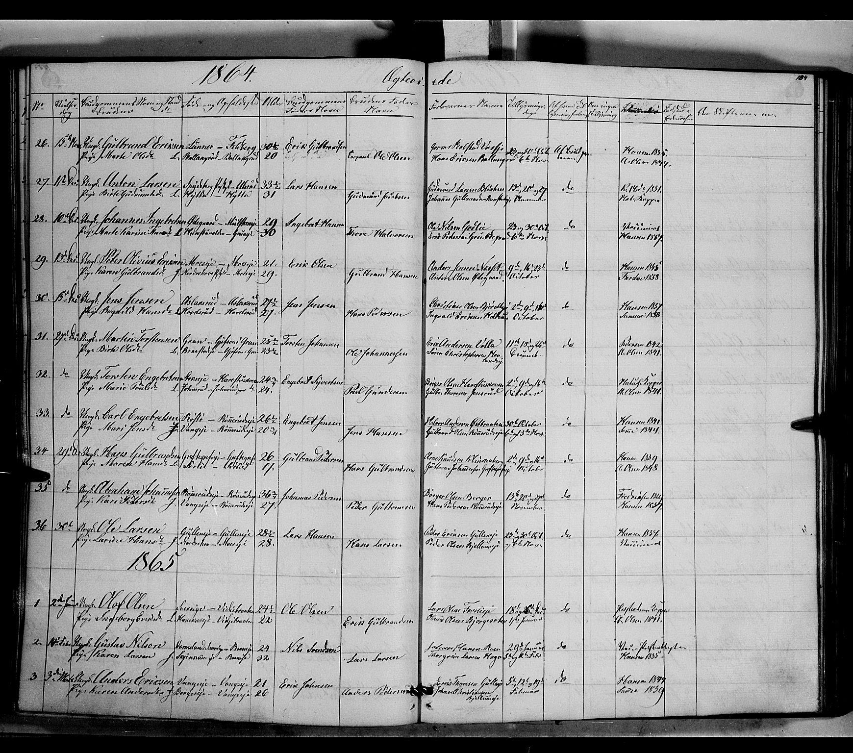 SAH, Jevnaker prestekontor, Ministerialbok nr. 7, 1858-1876, s. 184