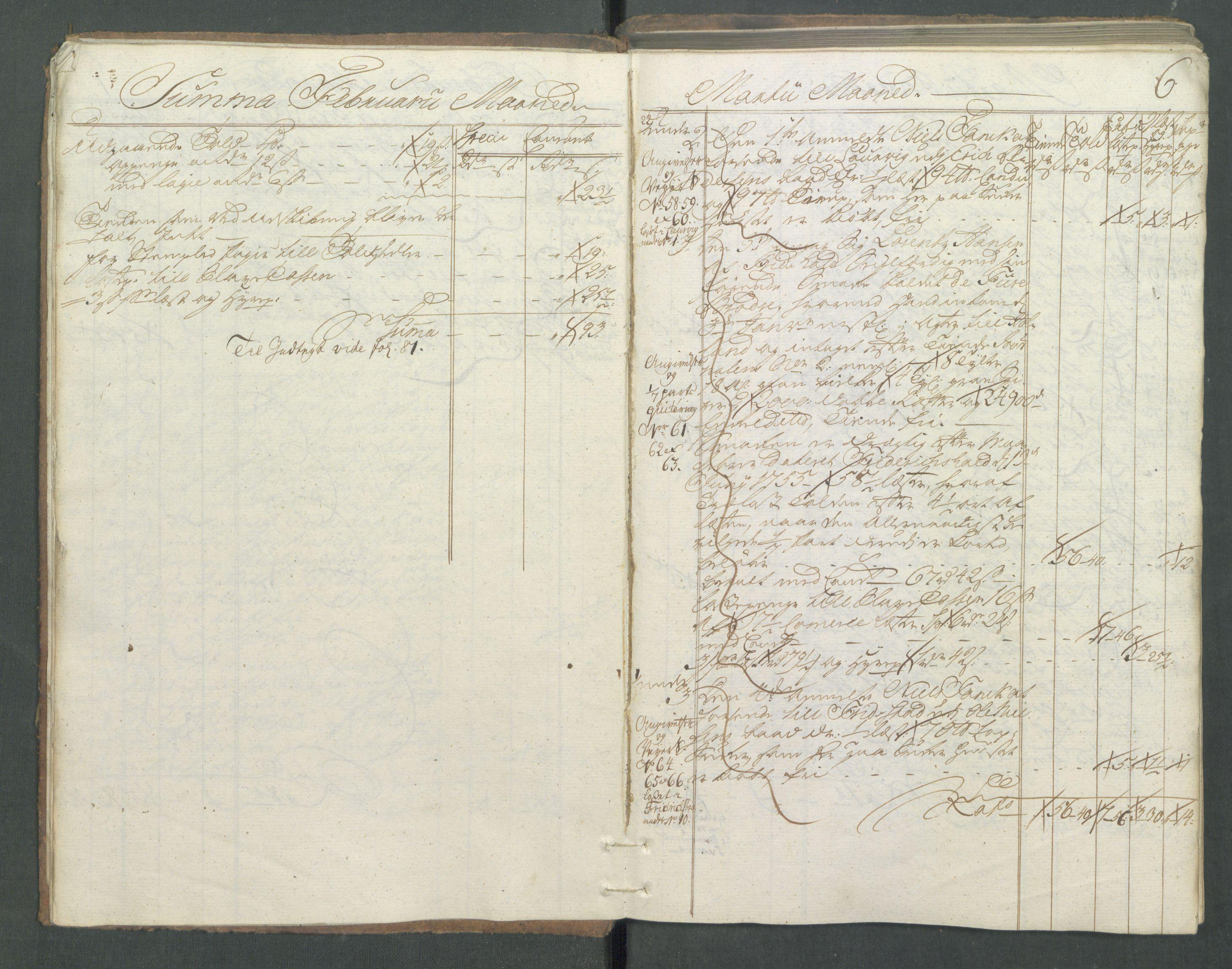 RA, Generaltollkammeret, tollregnskaper, R01/L0029: Tollregnskaper Fredrikshald, 1756, s. 5b-6a