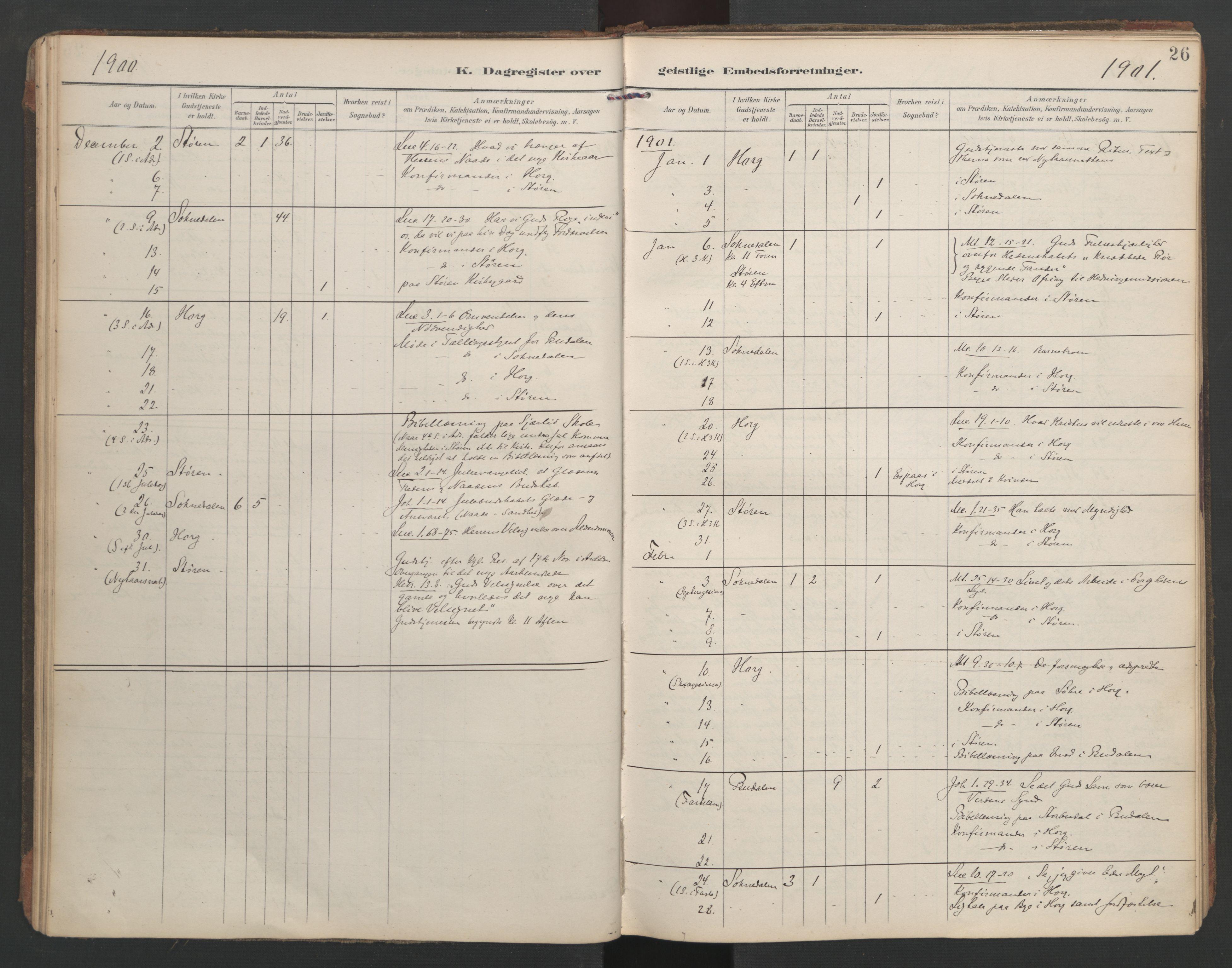 SAT, Ministerialprotokoller, klokkerbøker og fødselsregistre - Sør-Trøndelag, 687/L1005: Dagregister nr. 687A11, 1891-1912, s. 26