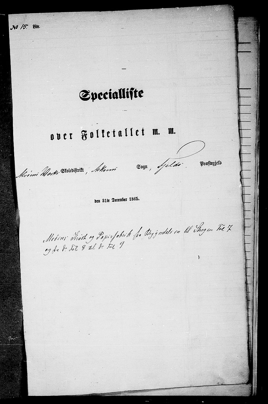 RA, Folketelling 1865 for 1246P Fjell prestegjeld, 1865, s. 258