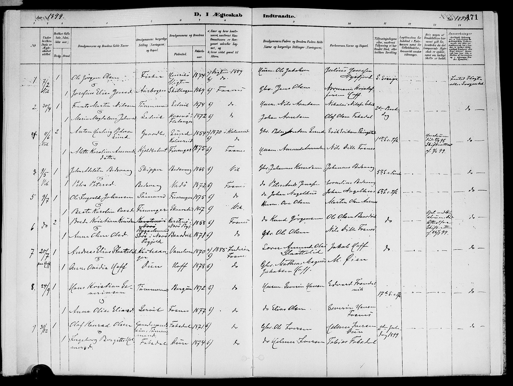 SAT, Ministerialprotokoller, klokkerbøker og fødselsregistre - Nord-Trøndelag, 773/L0617: Ministerialbok nr. 773A08, 1887-1910, s. 171