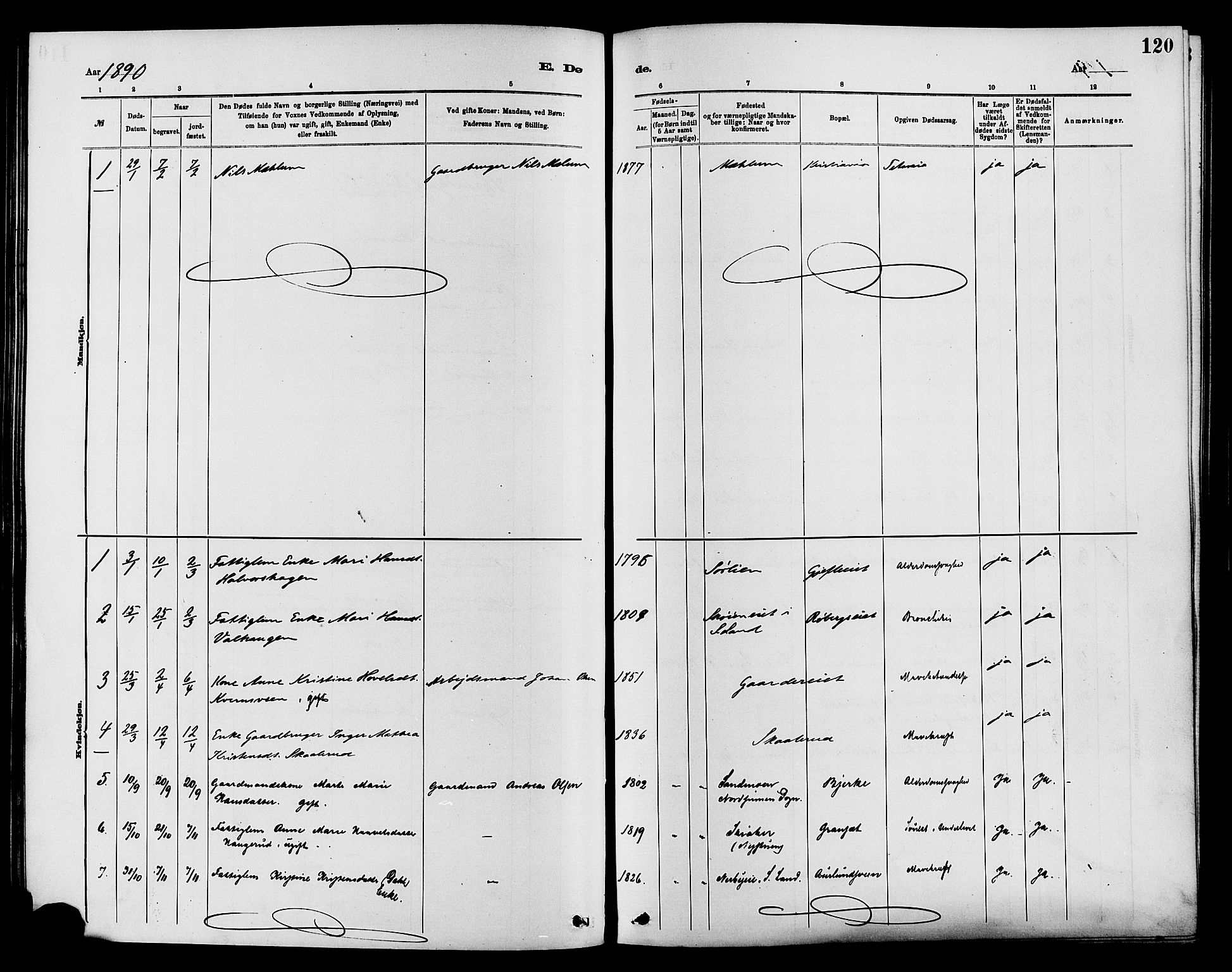 SAH, Nordre Land prestekontor, Ministerialbok nr. 3, 1882-1896, s. 120