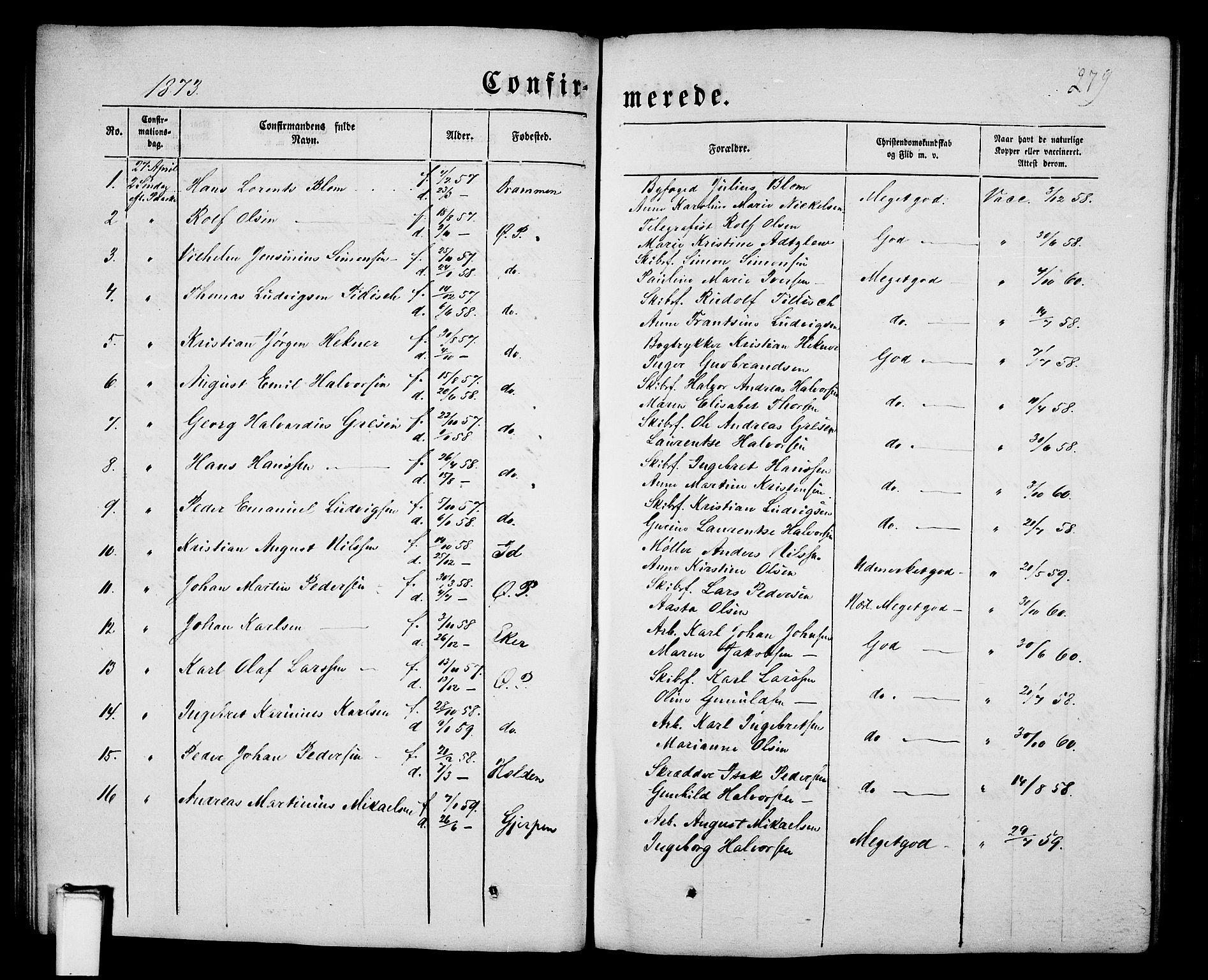 SAKO, Porsgrunn kirkebøker , G/Gb/L0004: Klokkerbok nr. II 4, 1853-1882, s. 279