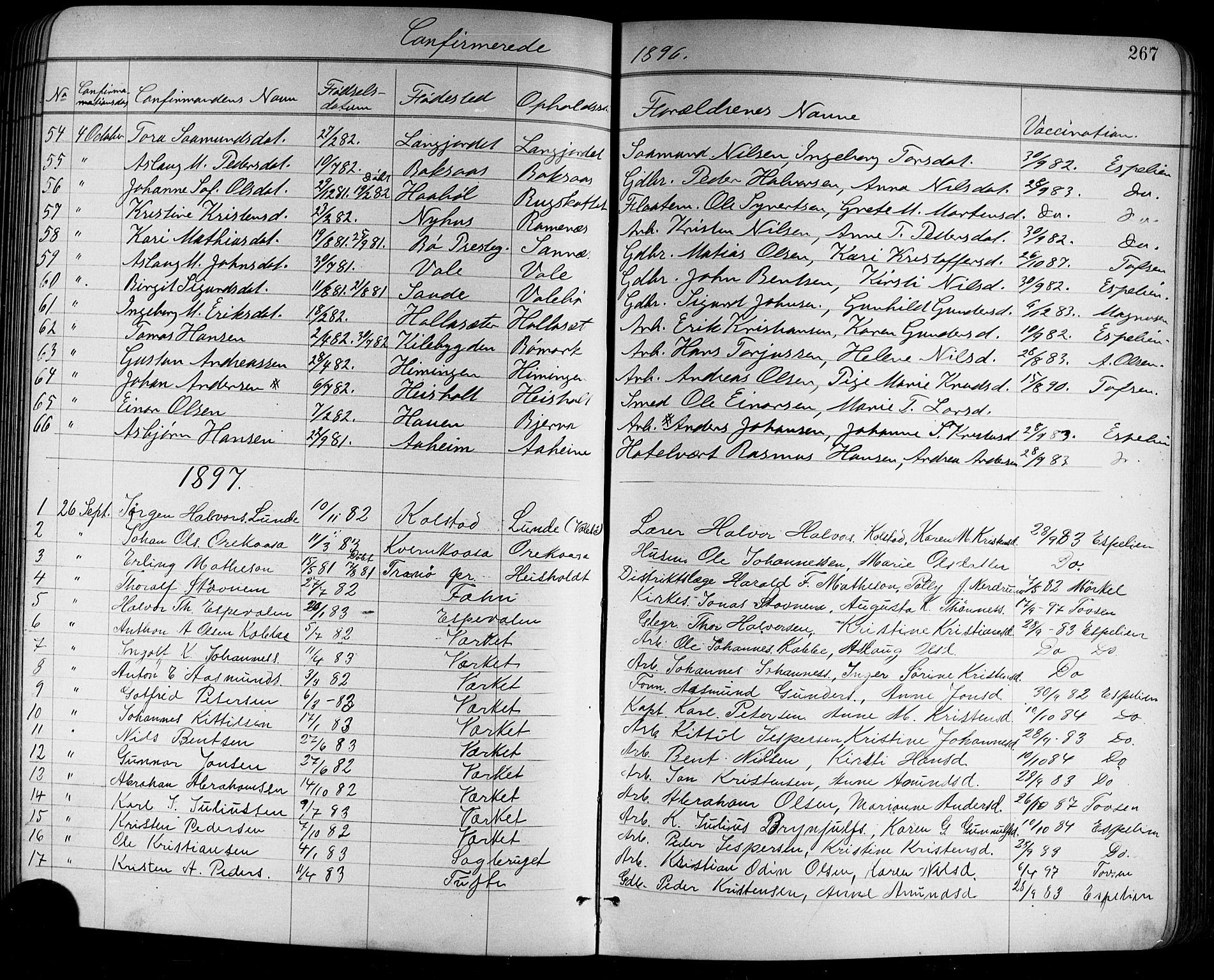 SAKO, Holla kirkebøker, G/Ga/L0005: Klokkerbok nr. I 5, 1891-1917, s. 267
