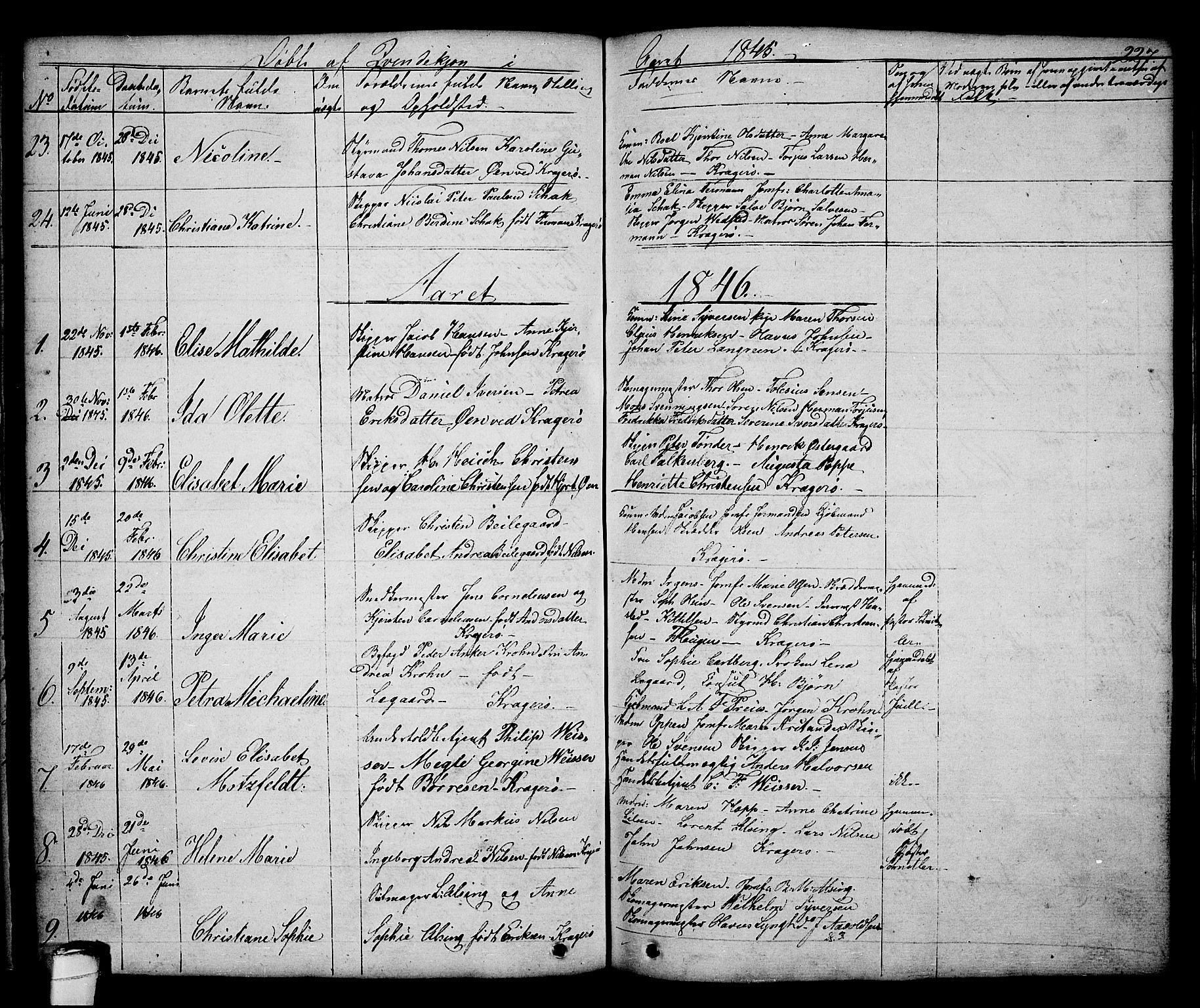 SAKO, Kragerø kirkebøker, G/Ga/L0003: Klokkerbok nr. 3, 1832-1852, s. 227