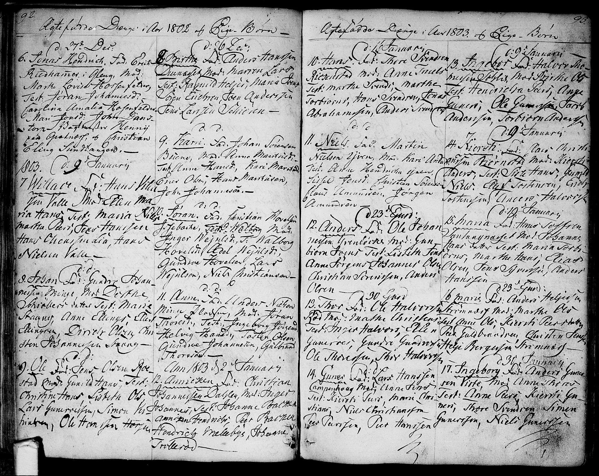 SAO, Tune prestekontor Kirkebøker, F/Fa/L0004: Ministerialbok nr. 4, 1797-1815, s. 92-93