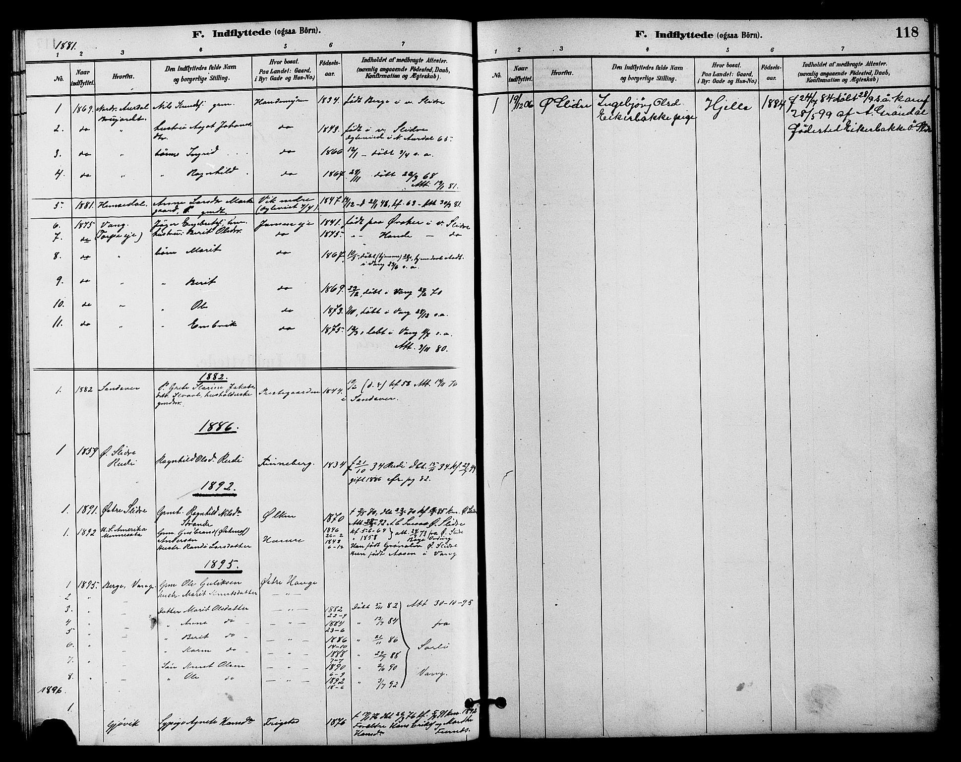 SAH, Vestre Slidre prestekontor, Klokkerbok nr. 4, 1881-1912, s. 118