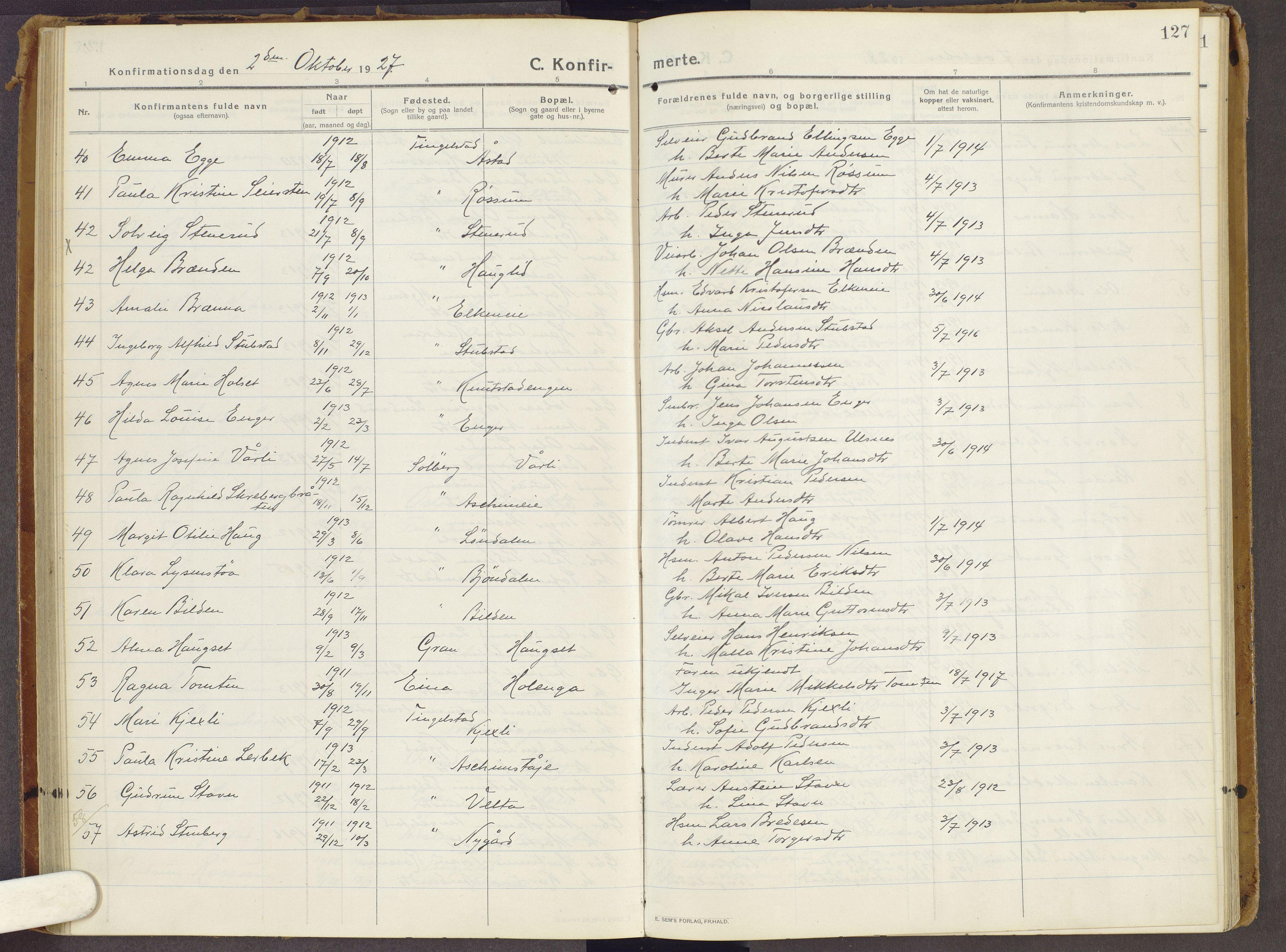 SAH, Brandbu prestekontor, Ministerialbok nr. 3, 1914-1928, s. 127