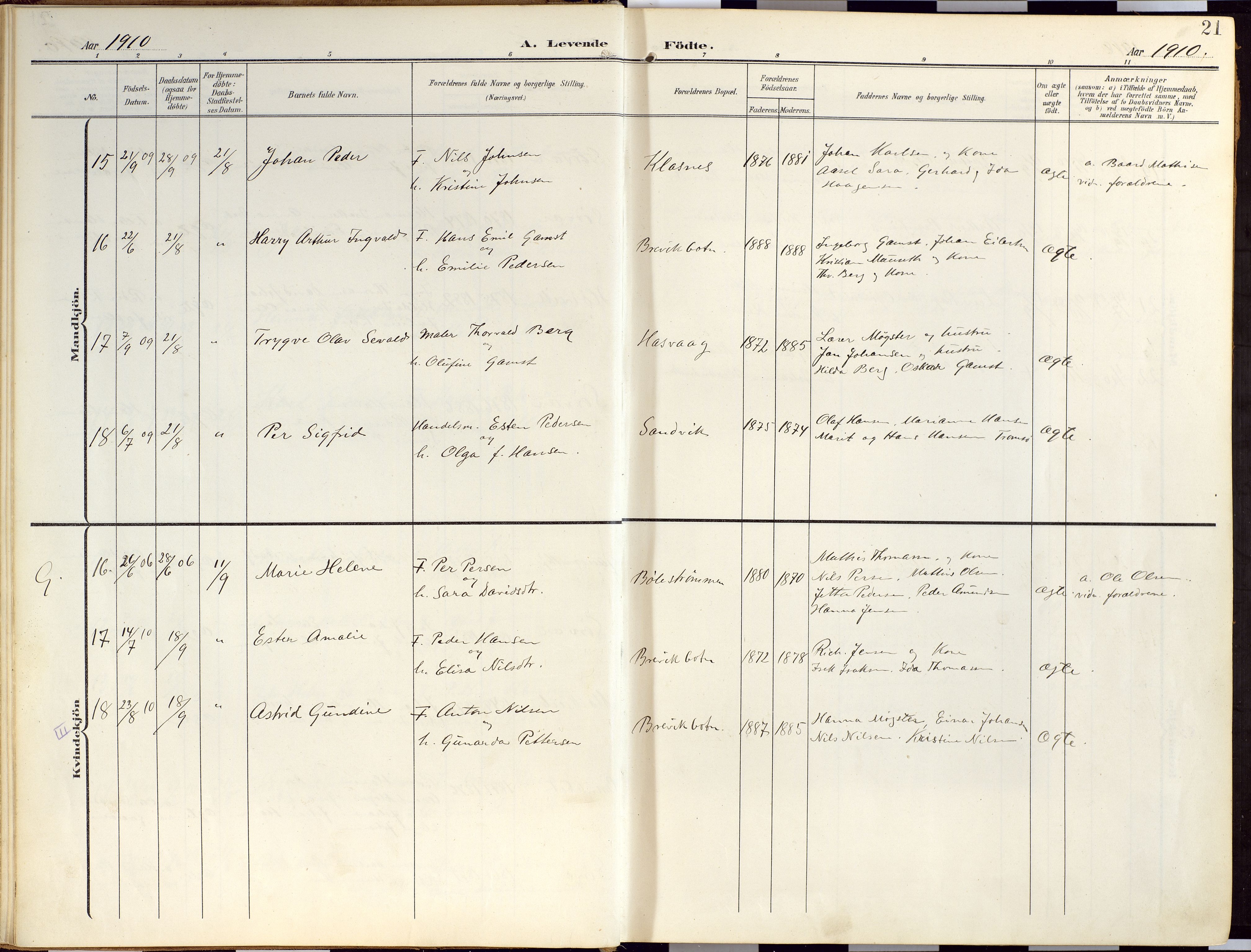 SATØ, Loppa sokneprestkontor, H/Ha/L0010kirke: Ministerialbok nr. 10, 1907-1922, s. 21