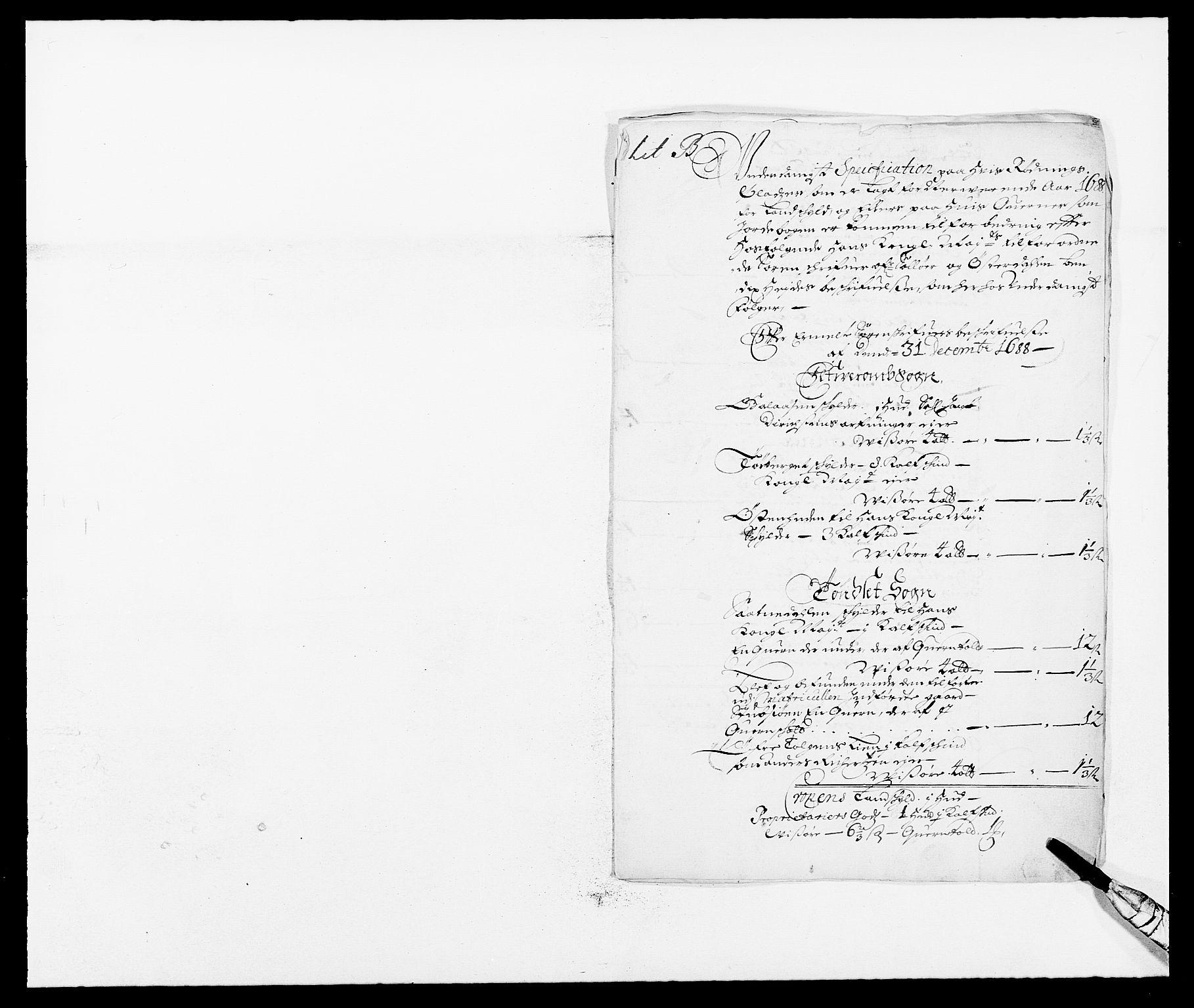 RA, Rentekammeret inntil 1814, Reviderte regnskaper, Fogderegnskap, R13/L0825: Fogderegnskap Solør, Odal og Østerdal, 1688, s. 127