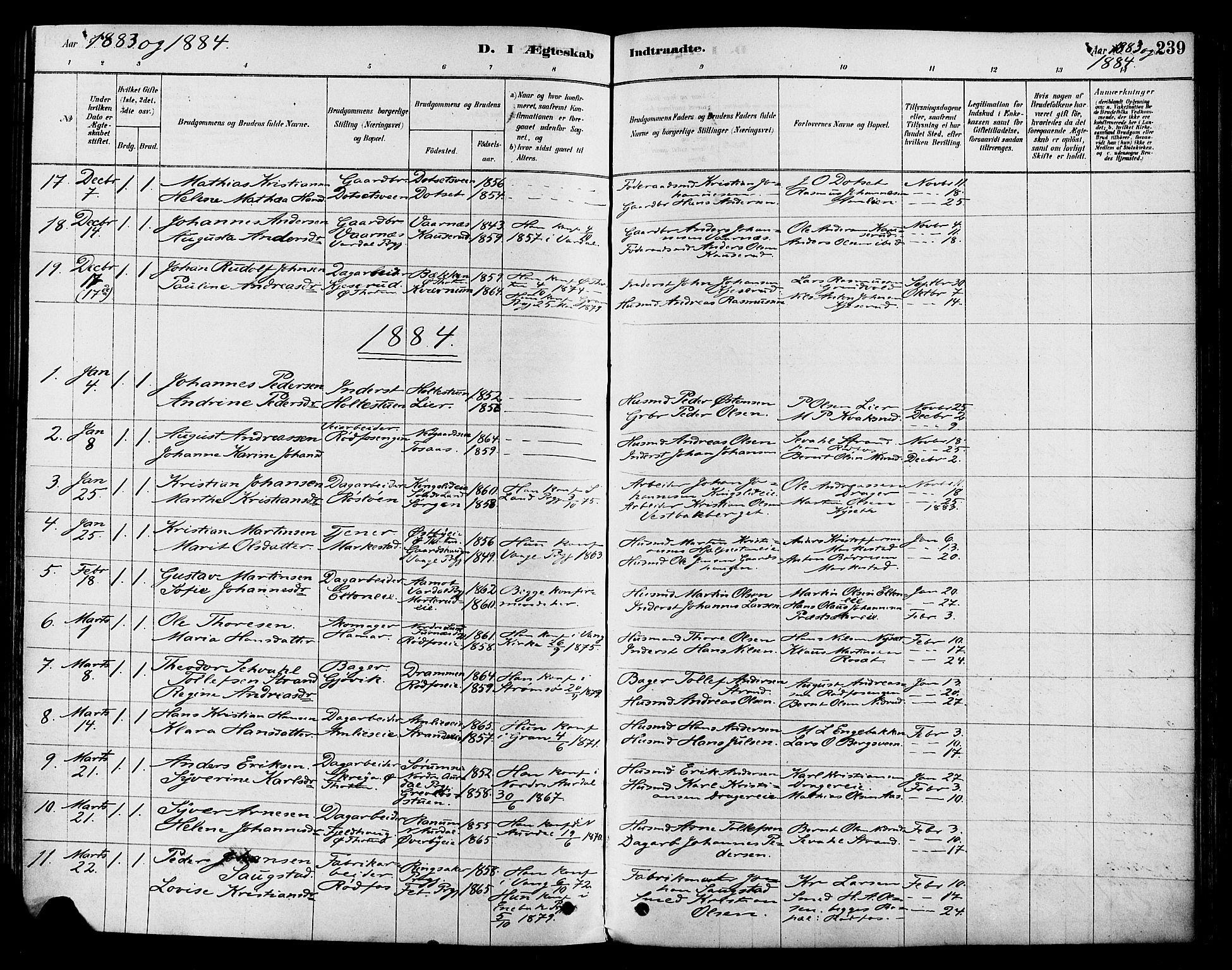 SAH, Vestre Toten prestekontor, Ministerialbok nr. 9, 1878-1894, s. 239