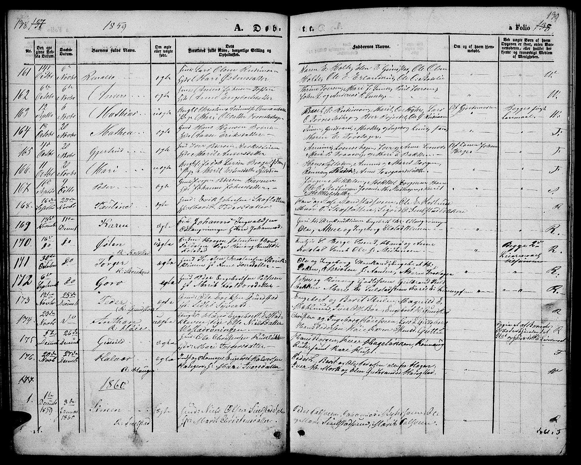 SAH, Ringebu prestekontor, Klokkerbok nr. 3, 1854-1866, s. 138-139