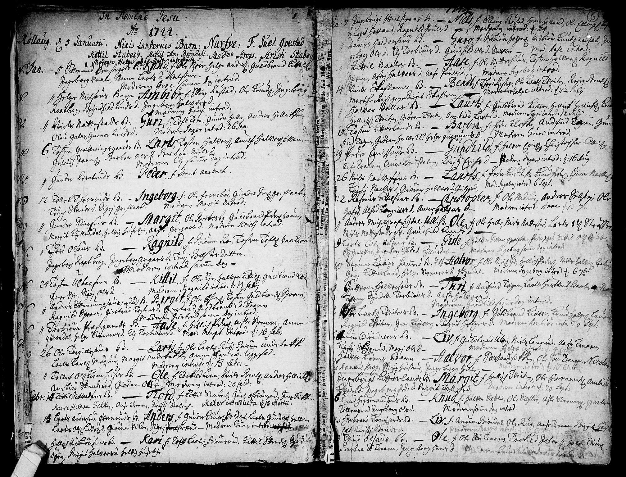 SAKO, Rollag kirkebøker, F/Fa/L0003: Ministerialbok nr. I 3, 1743-1778, s. 6