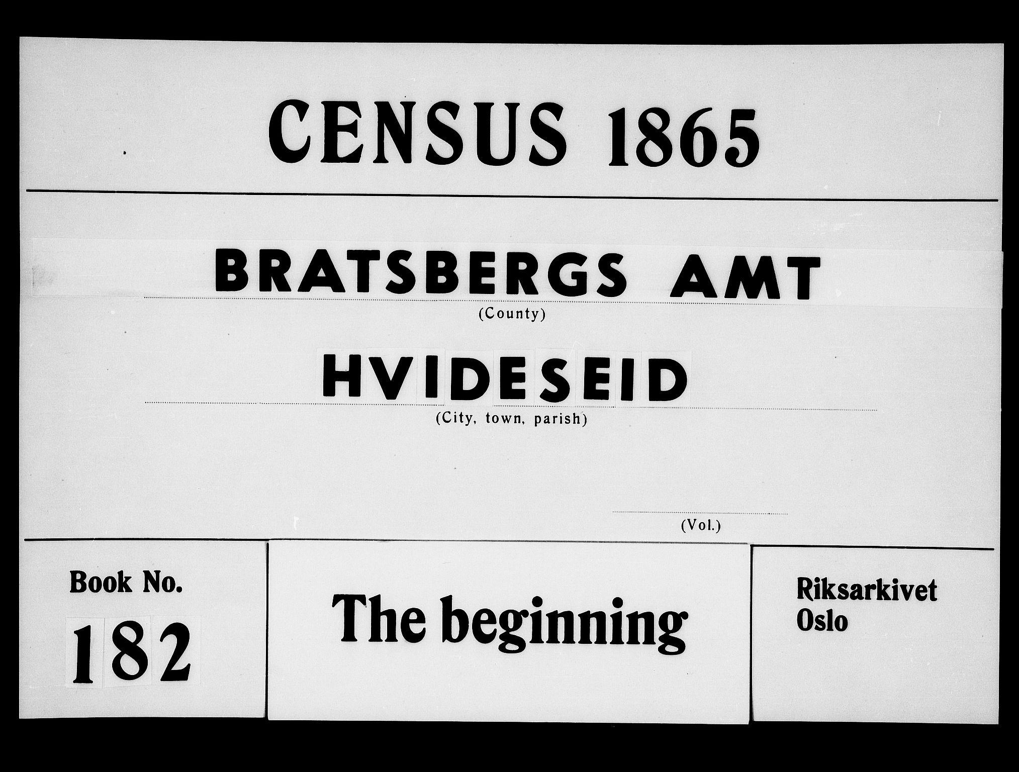 RA, Folketelling 1865 for 0829P Kviteseid prestegjeld, 1865, s. 1