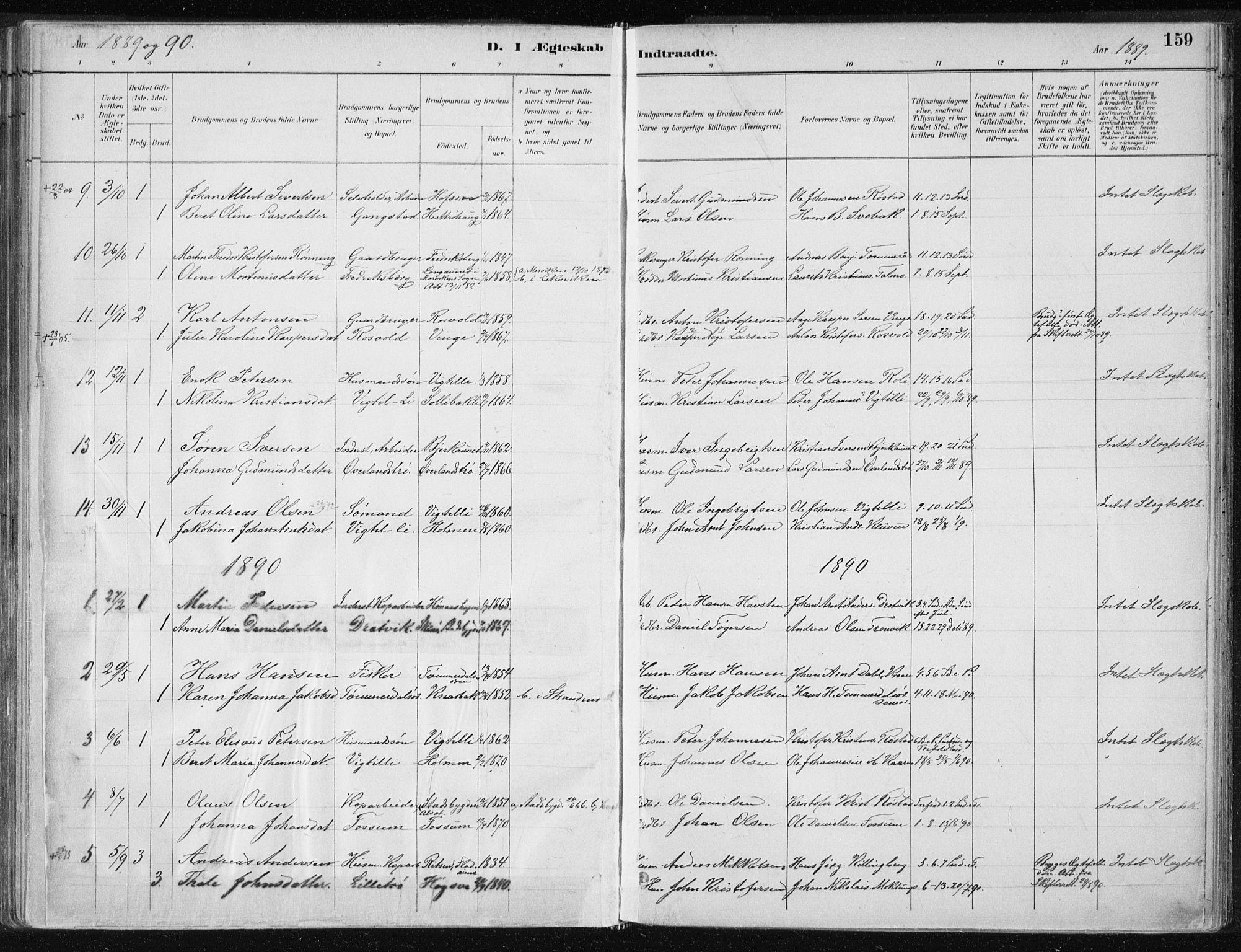 SAT, Ministerialprotokoller, klokkerbøker og fødselsregistre - Nord-Trøndelag, 701/L0010: Ministerialbok nr. 701A10, 1883-1899, s. 159