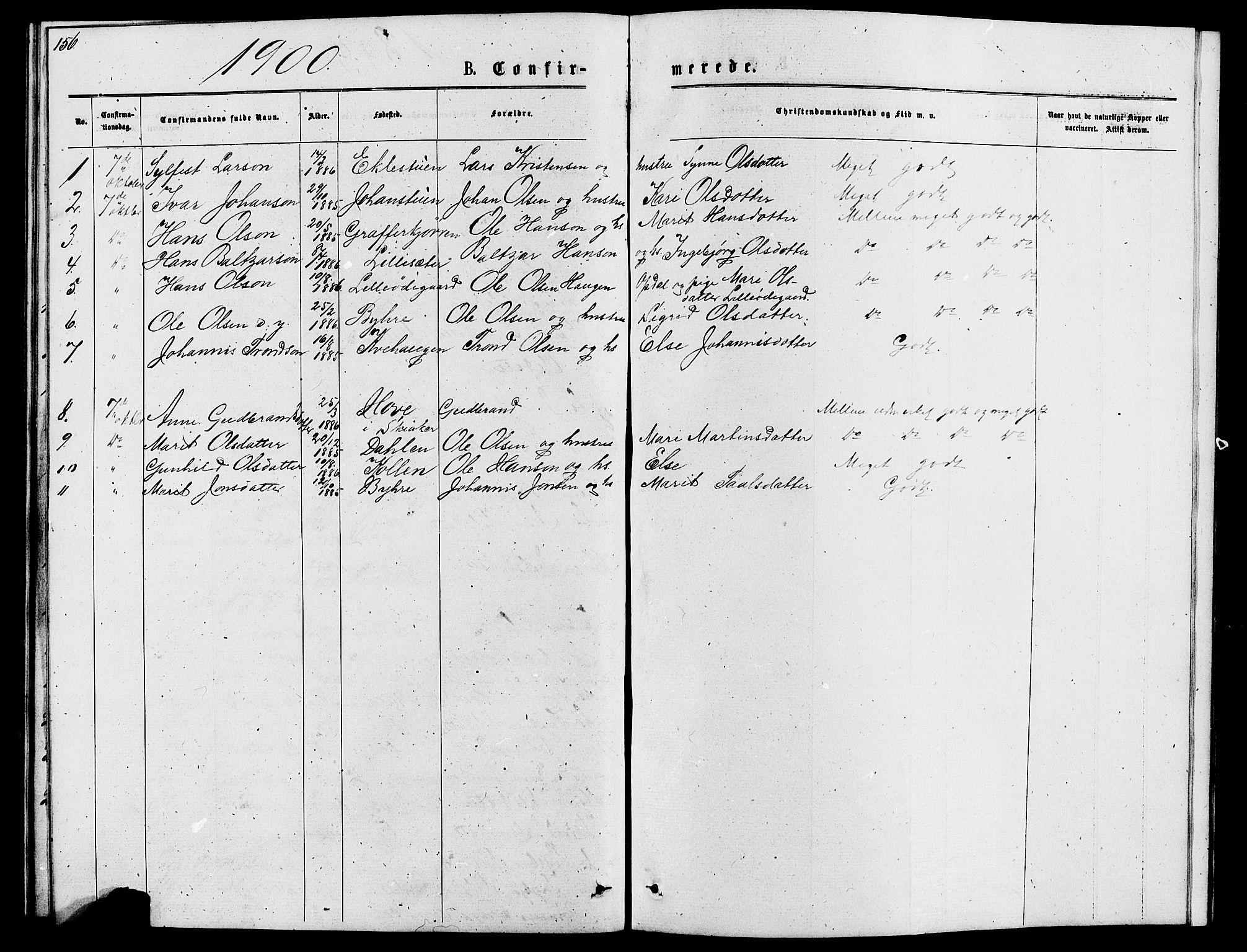 SAH, Lom prestekontor, L/L0005: Klokkerbok nr. 5, 1876-1901, s. 156-157