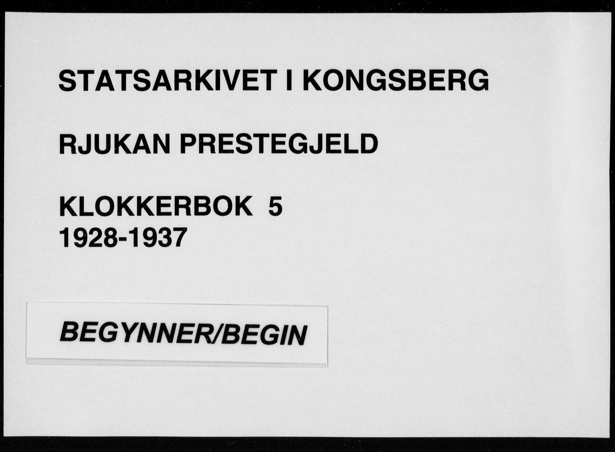 SAKO, Rjukan kirkebøker, G/Ga/L0005: Klokkerbok nr. 5, 1928-1937