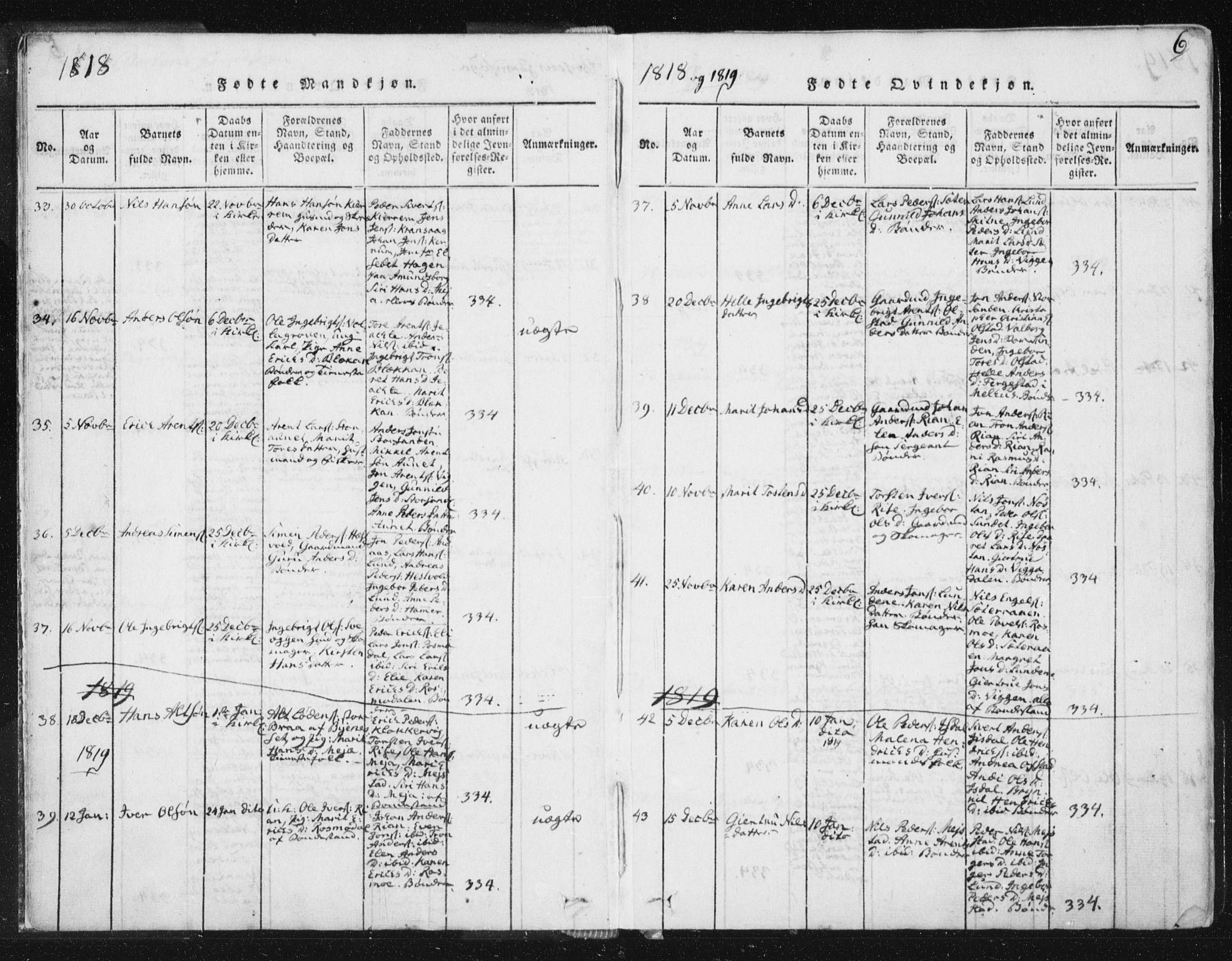 SAT, Ministerialprotokoller, klokkerbøker og fødselsregistre - Sør-Trøndelag, 665/L0770: Ministerialbok nr. 665A05, 1817-1829, s. 6