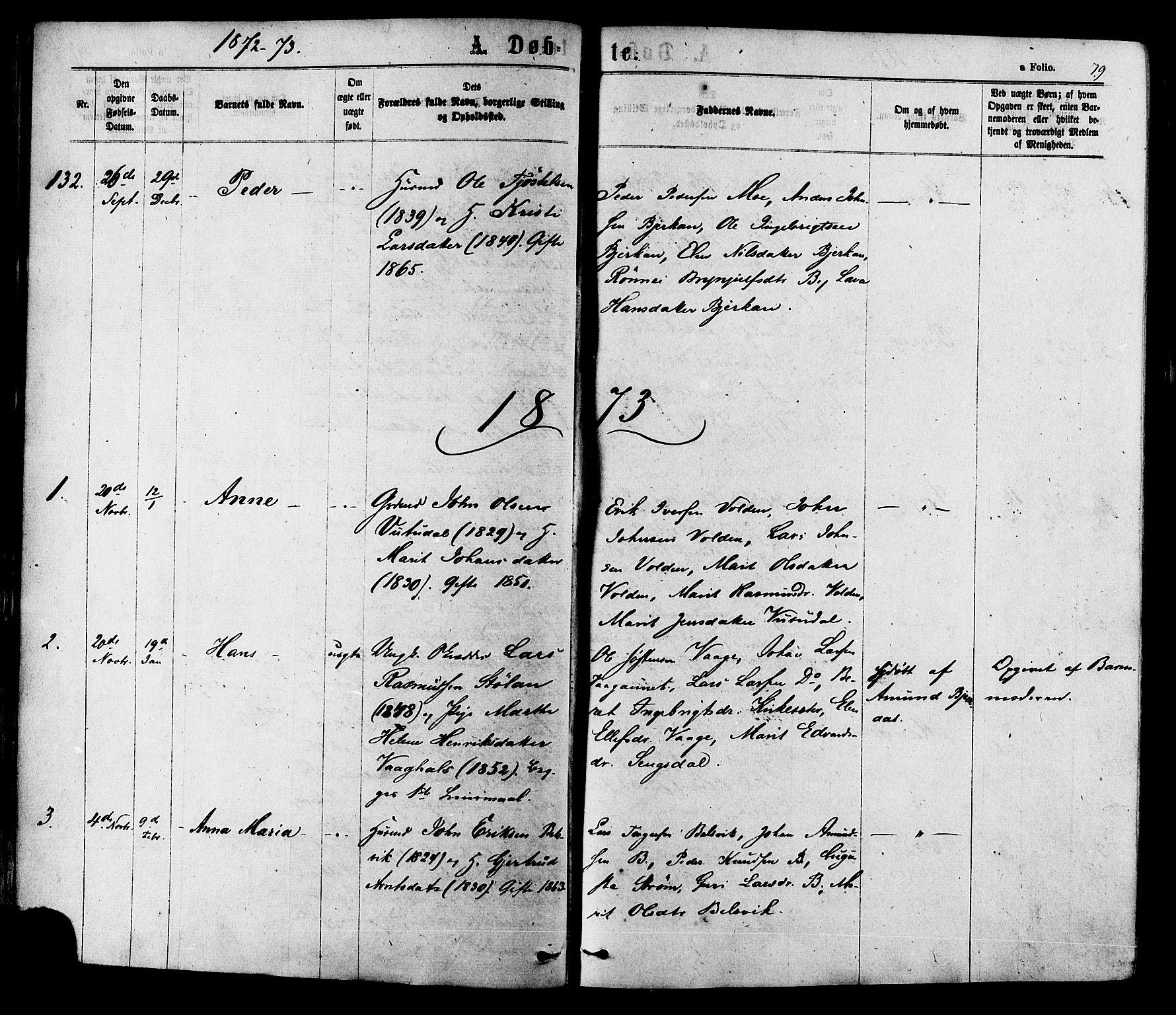 SAT, Ministerialprotokoller, klokkerbøker og fødselsregistre - Sør-Trøndelag, 630/L0495: Ministerialbok nr. 630A08, 1868-1878, s. 79