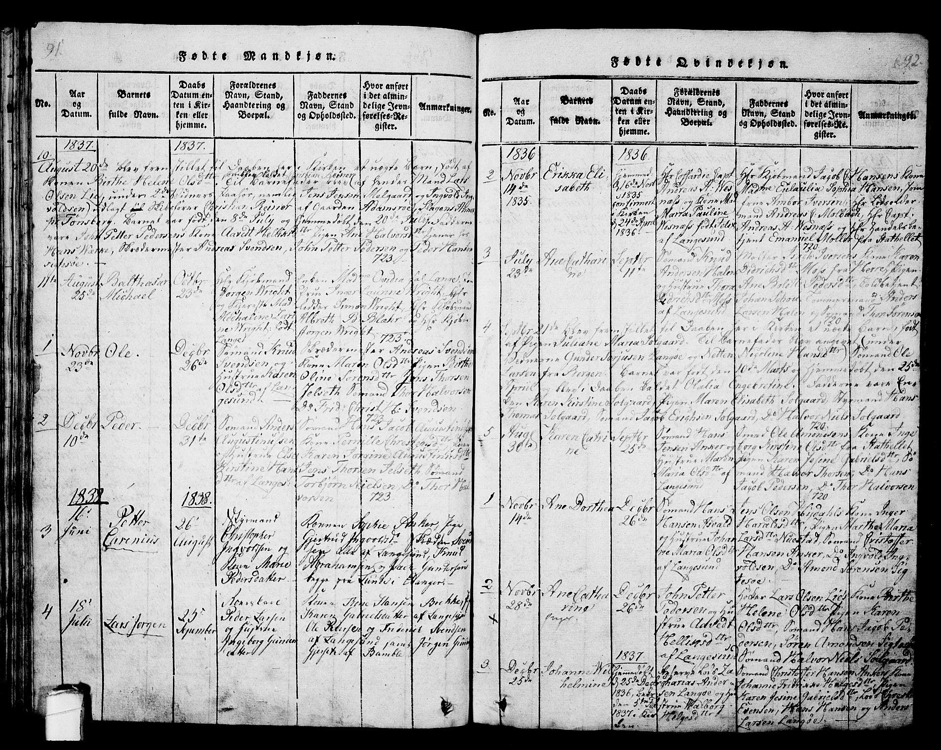 SAKO, Langesund kirkebøker, G/Ga/L0003: Klokkerbok nr. 3, 1815-1858, s. 91-92