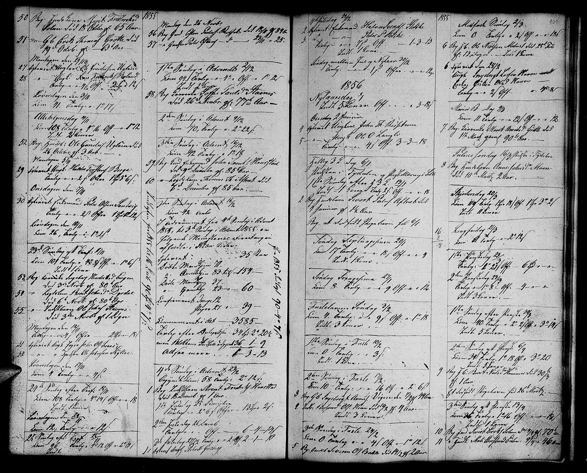 SAT, Ministerialprotokoller, klokkerbøker og fødselsregistre - Sør-Trøndelag, 695/L1154: Klokkerbok nr. 695C05, 1842-1858, s. 101