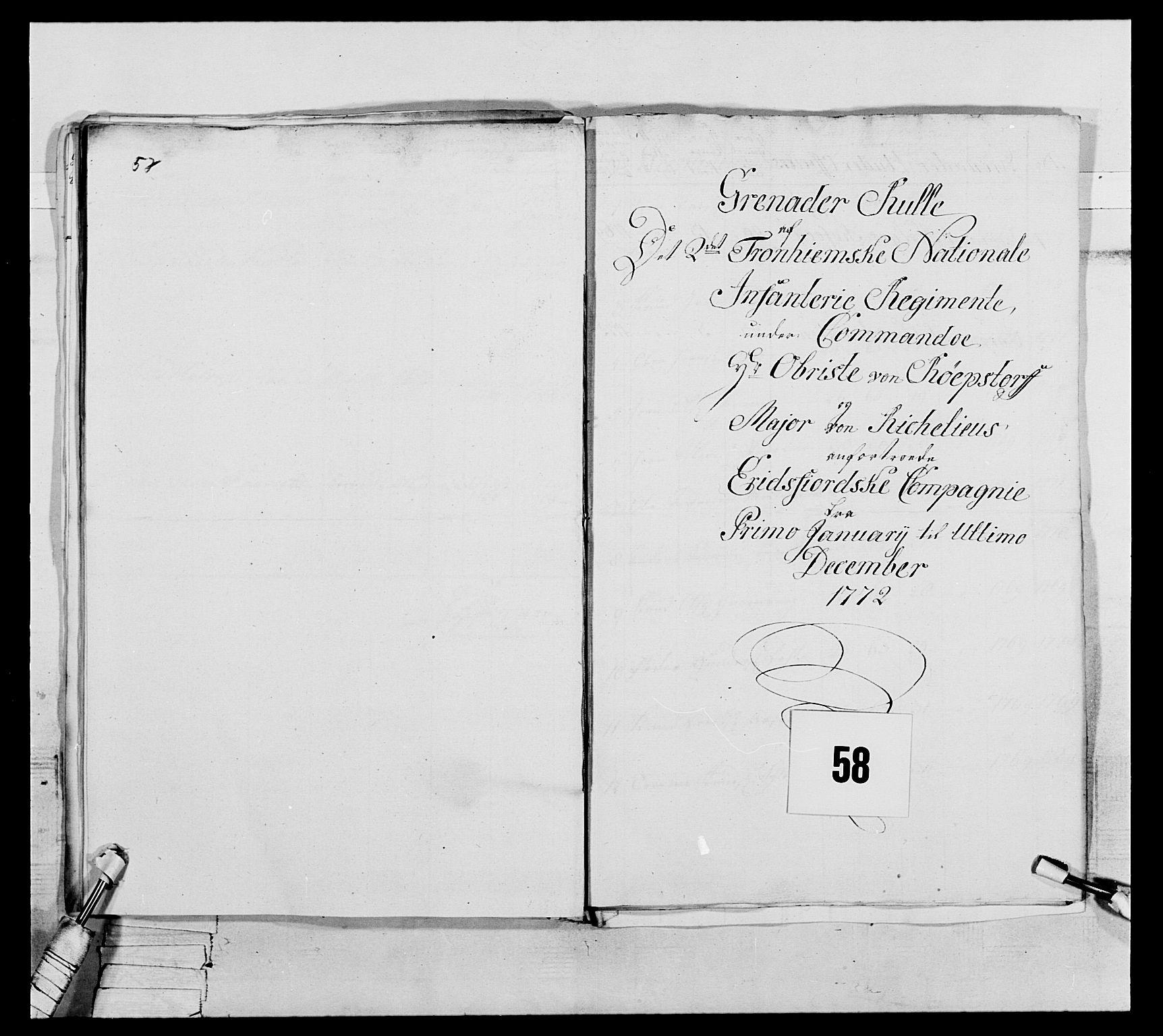 RA, Generalitets- og kommissariatskollegiet, Det kongelige norske kommissariatskollegium, E/Eh/L0076: 2. Trondheimske nasjonale infanteriregiment, 1766-1773, s. 200
