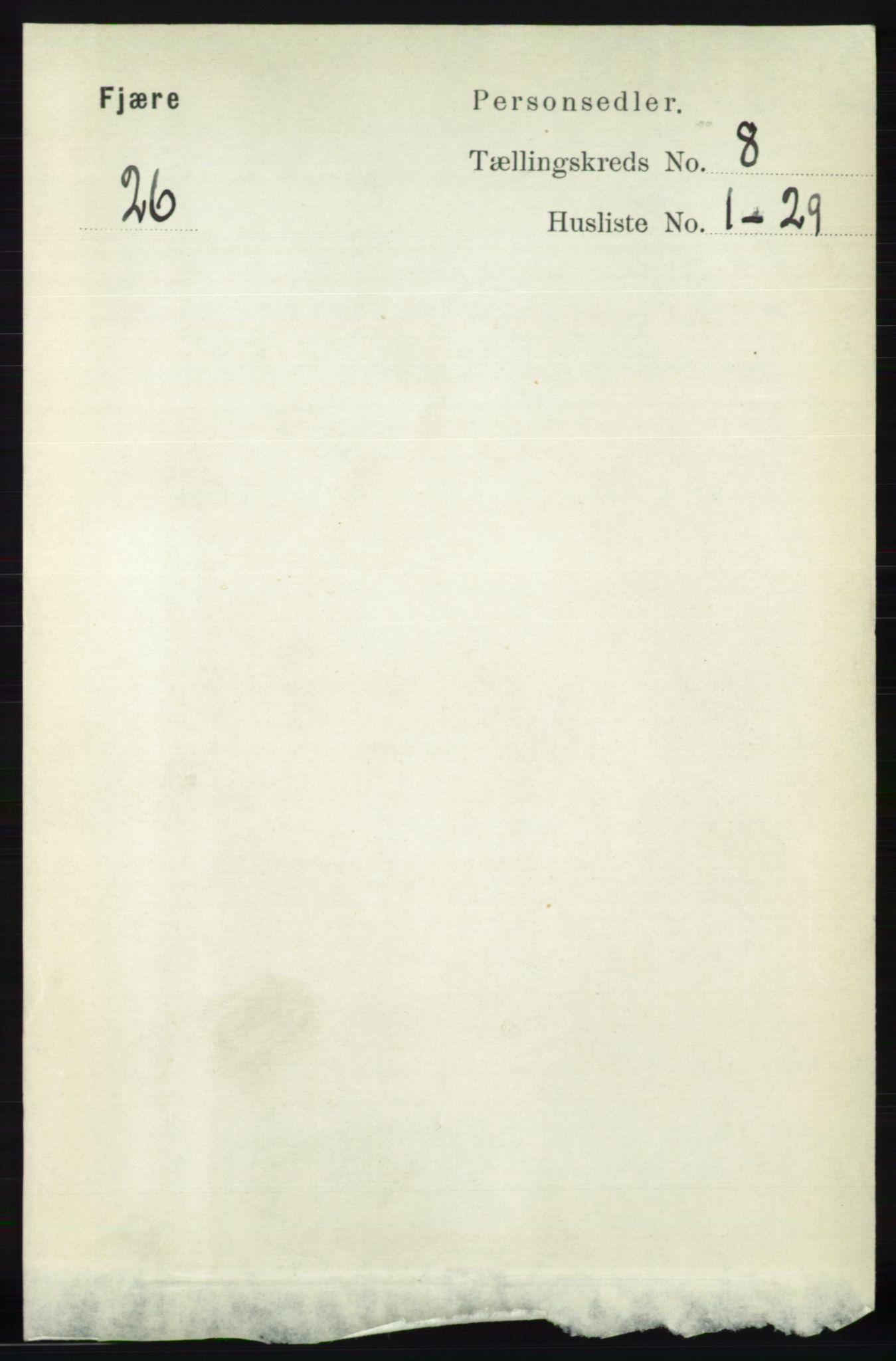 RA, Folketelling 1891 for 0923 Fjære herred, 1891, s. 3737