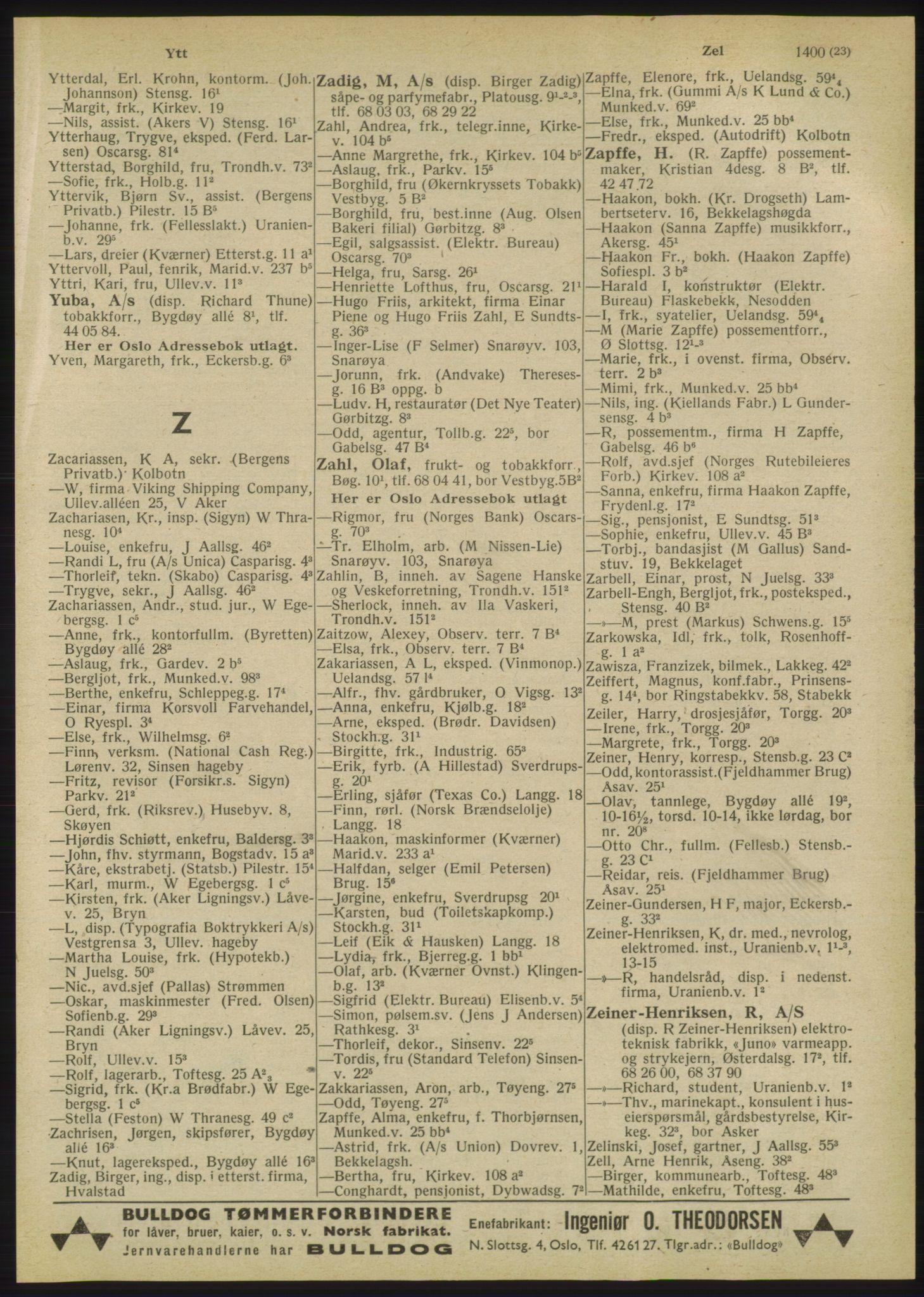 RA, Oslo adressebok (publikasjon)*, 1947, s. 1423