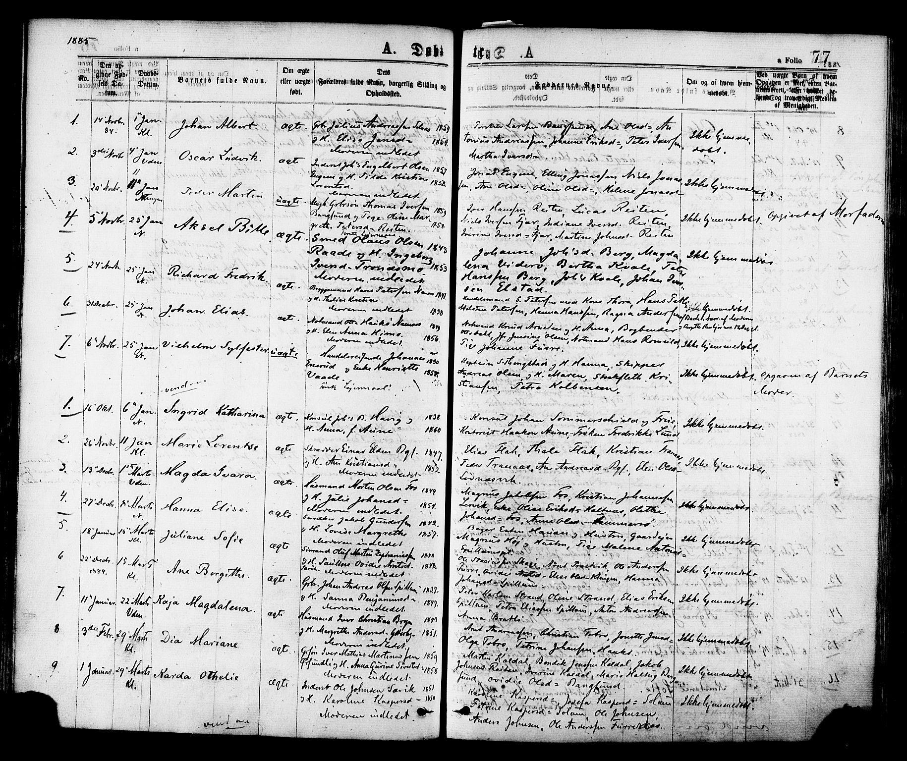 SAT, Ministerialprotokoller, klokkerbøker og fødselsregistre - Nord-Trøndelag, 768/L0572: Ministerialbok nr. 768A07, 1874-1886, s. 77