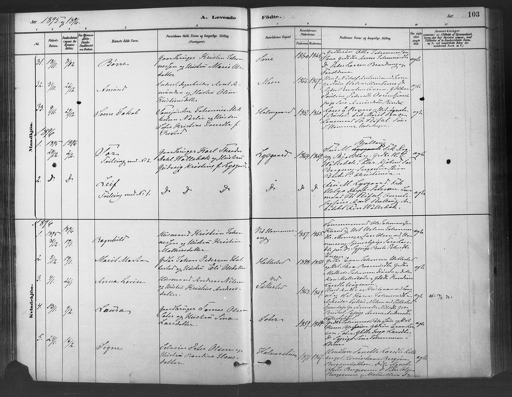 SAH, Fåberg prestekontor, Ministerialbok nr. 9, 1879-1898, s. 103