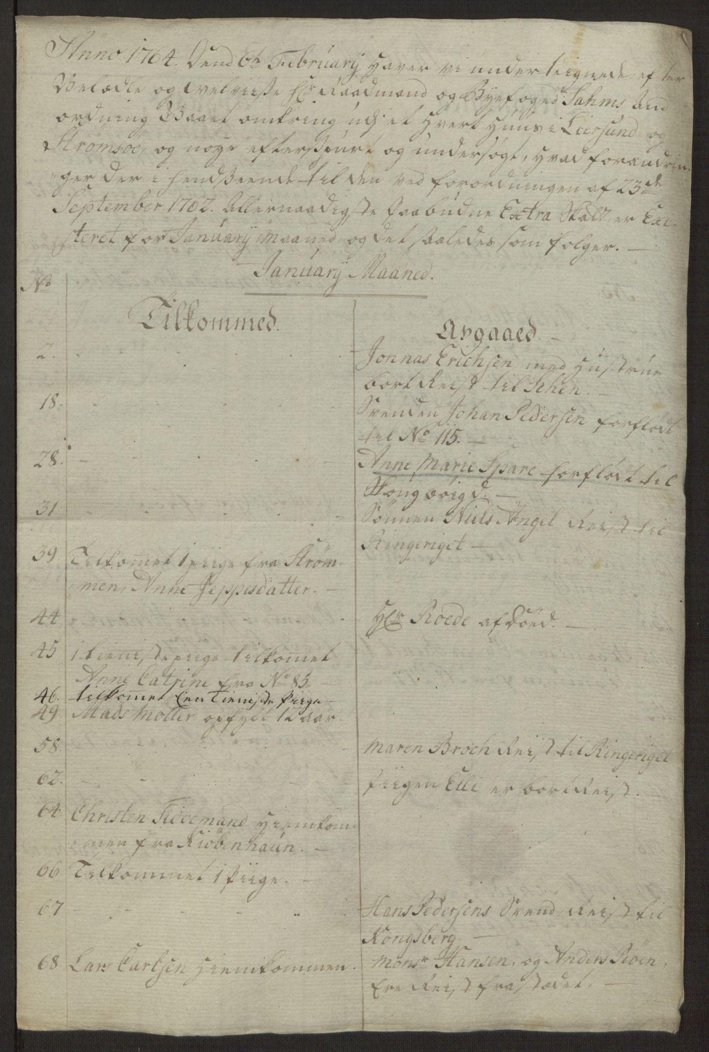 RA, Rentekammeret inntil 1814, Reviderte regnskaper, Byregnskaper, R/Rg/L0144: [G4] Kontribusjonsregnskap, 1762-1767, s. 262