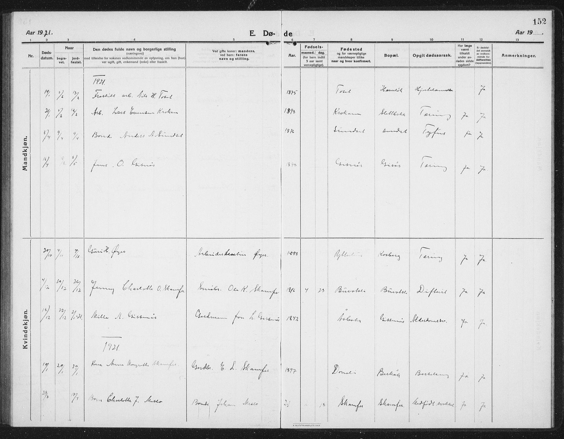 SAT, Ministerialprotokoller, klokkerbøker og fødselsregistre - Sør-Trøndelag, 675/L0888: Klokkerbok nr. 675C01, 1913-1935, s. 152