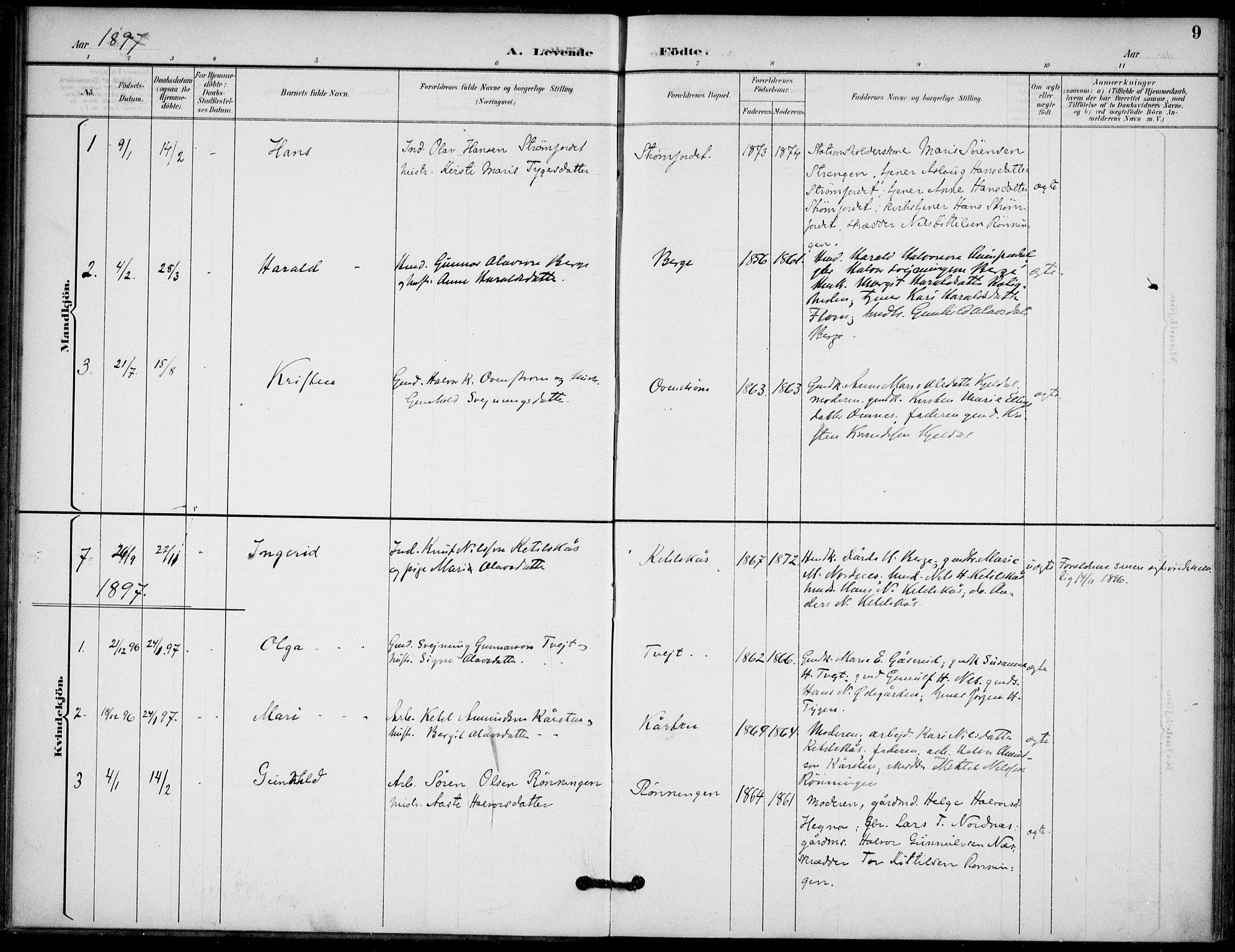 SAKO, Lunde kirkebøker, F/Fb/L0004: Ministerialbok nr. II 4, 1892-1907, s. 9