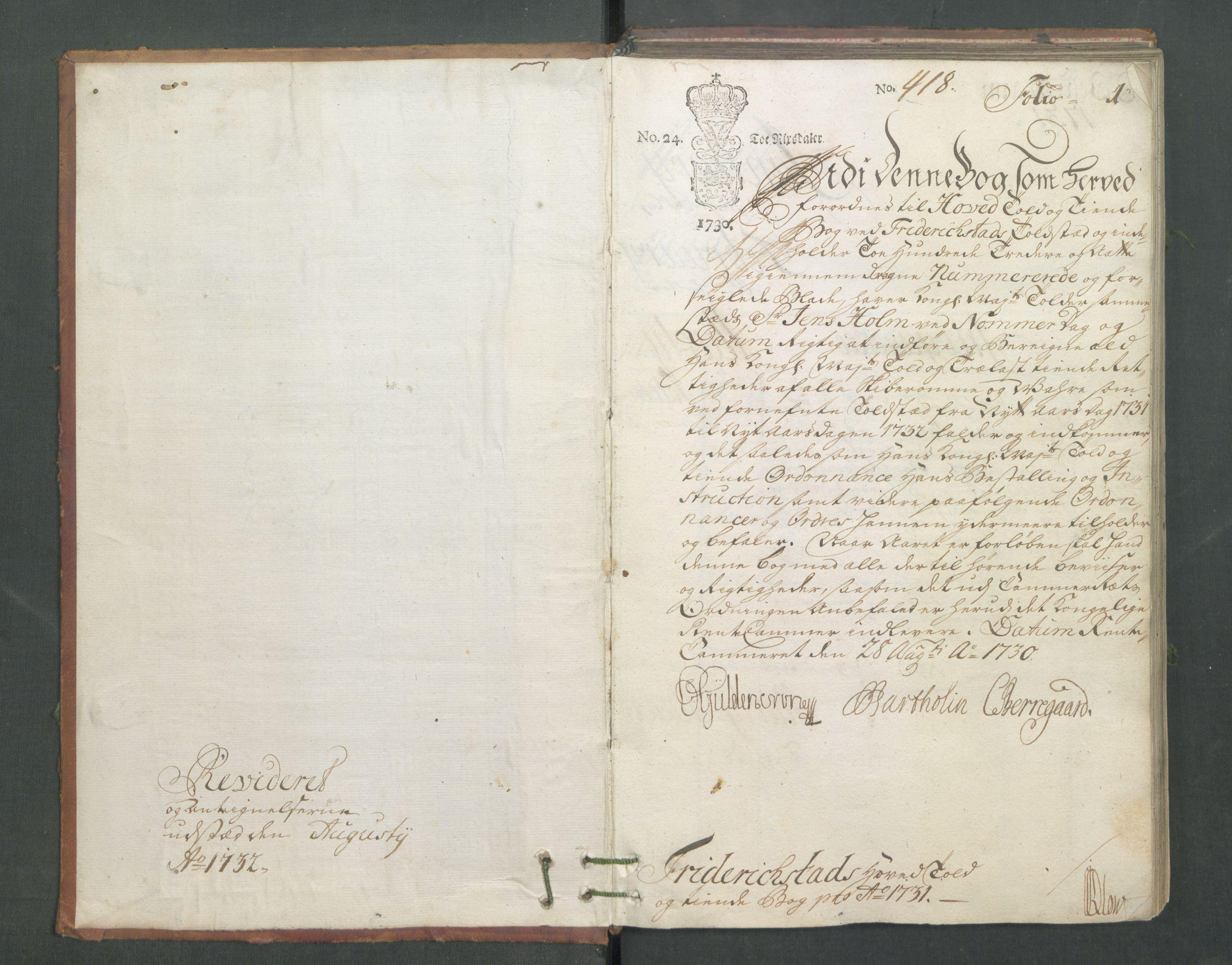 RA, Generaltollkammeret, tollregnskaper, R02/L0006: Tollregnskaper Fredrikstad, 1731, s. 1