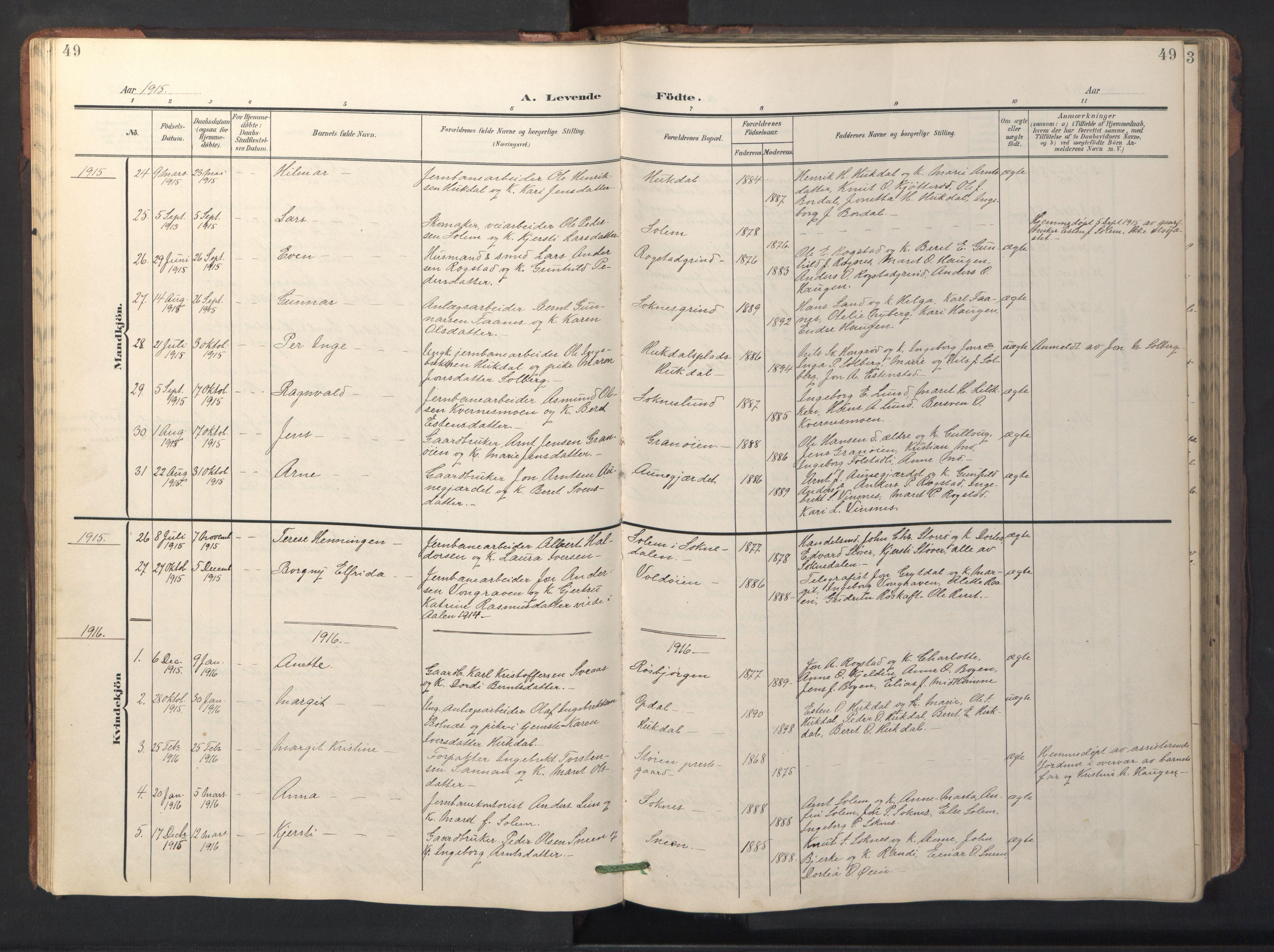 SAT, Ministerialprotokoller, klokkerbøker og fødselsregistre - Sør-Trøndelag, 687/L1019: Klokkerbok nr. 687C03, 1904-1931, s. 49