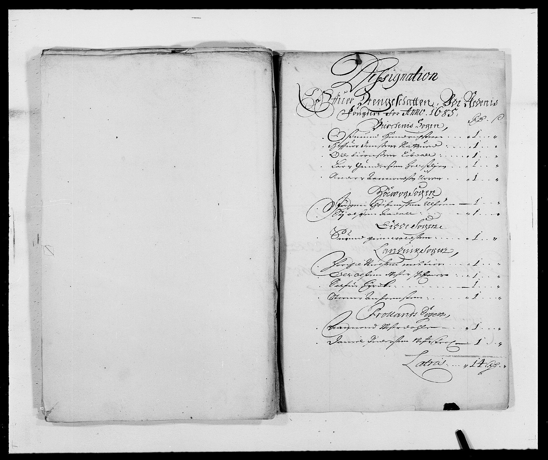 RA, Rentekammeret inntil 1814, Reviderte regnskaper, Fogderegnskap, R39/L2308: Fogderegnskap Nedenes, 1684-1689, s. 287