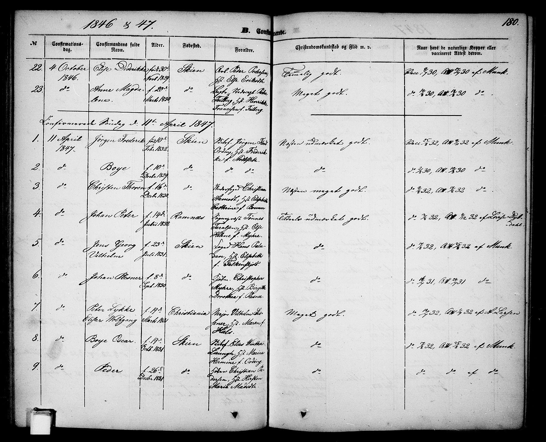 SAKO, Skien kirkebøker, G/Ga/L0004: Klokkerbok nr. 4, 1843-1867, s. 180