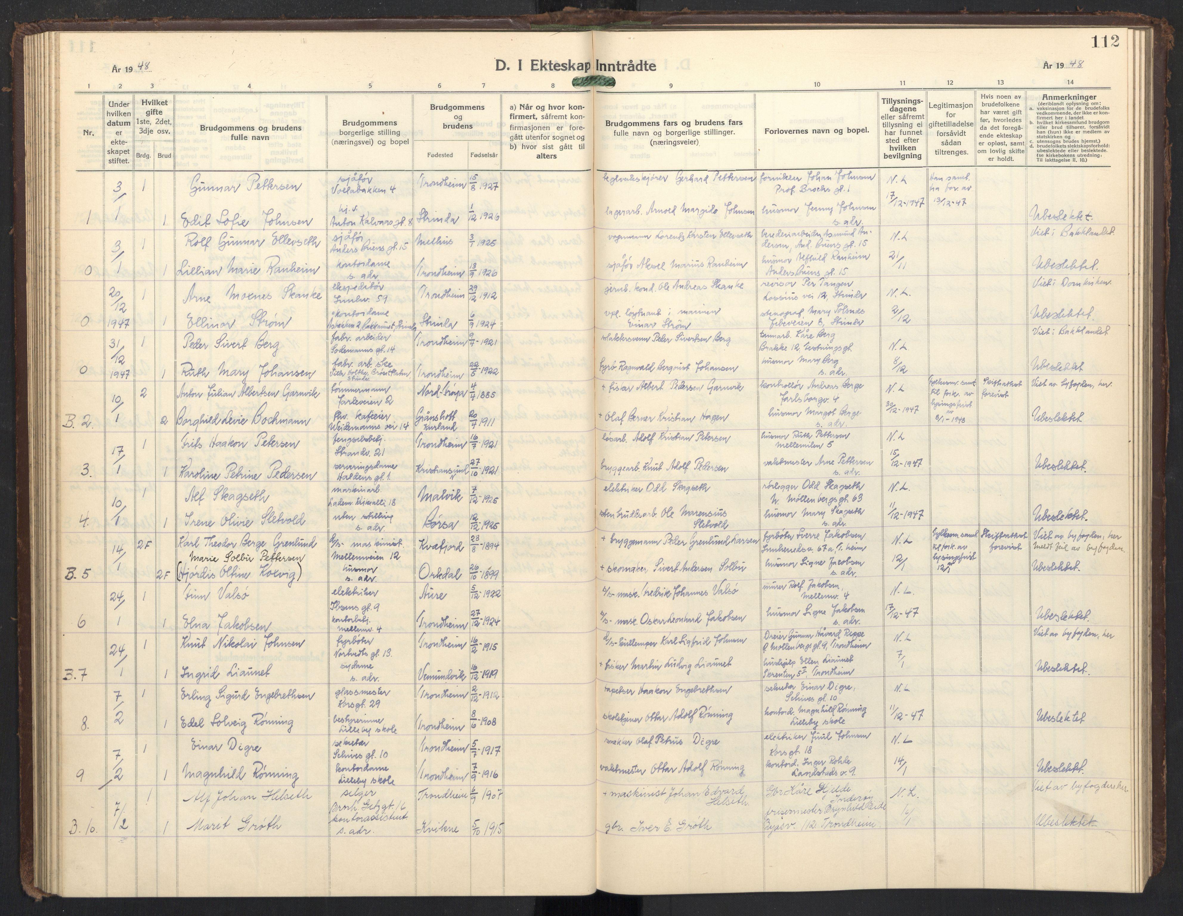 SAT, Ministerialprotokoller, klokkerbøker og fødselsregistre - Sør-Trøndelag, 605/L0263: Klokkerbok nr. 605C10, 1938-1949, s. 112