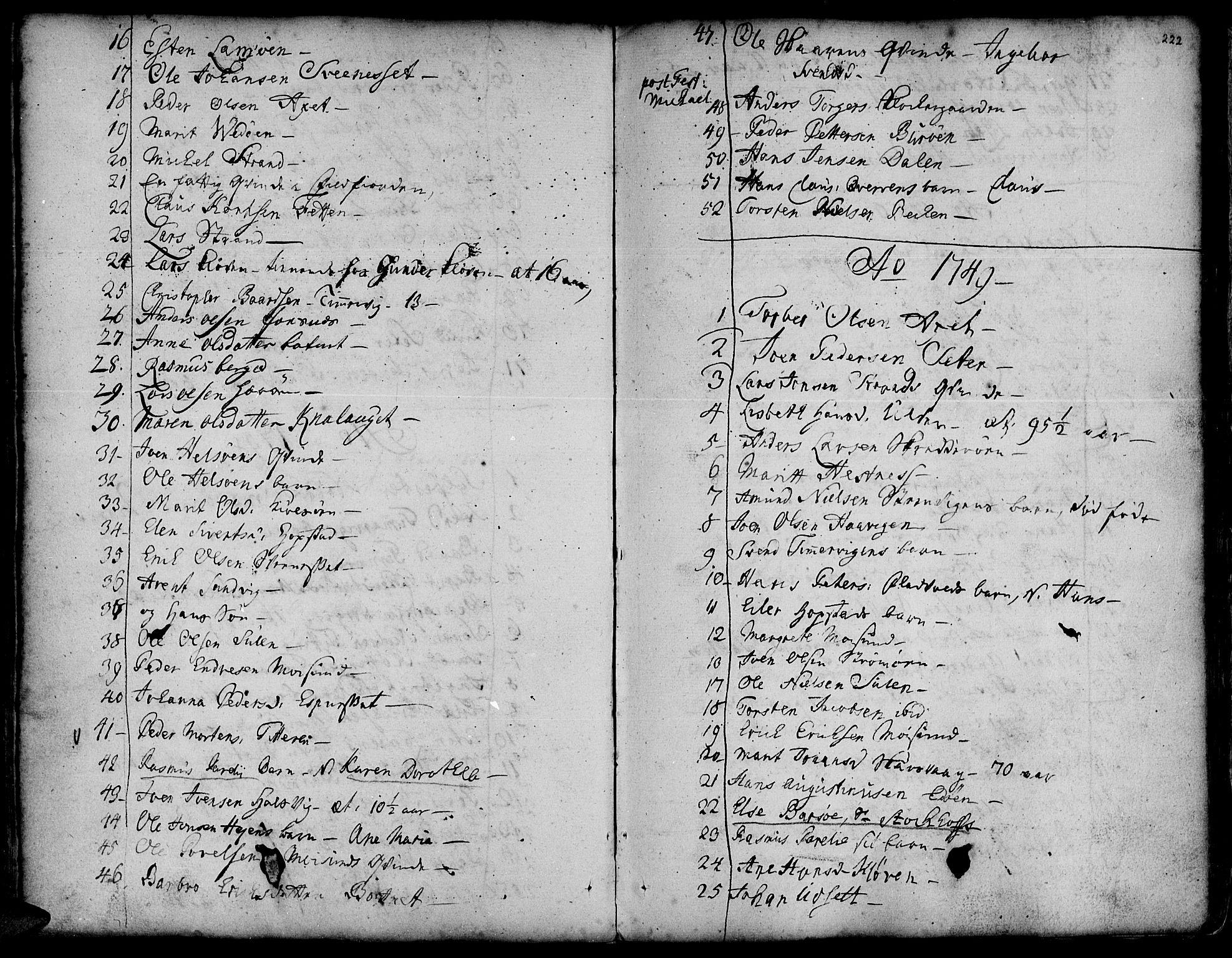 SAT, Ministerialprotokoller, klokkerbøker og fødselsregistre - Sør-Trøndelag, 634/L0525: Ministerialbok nr. 634A01, 1736-1775, s. 222