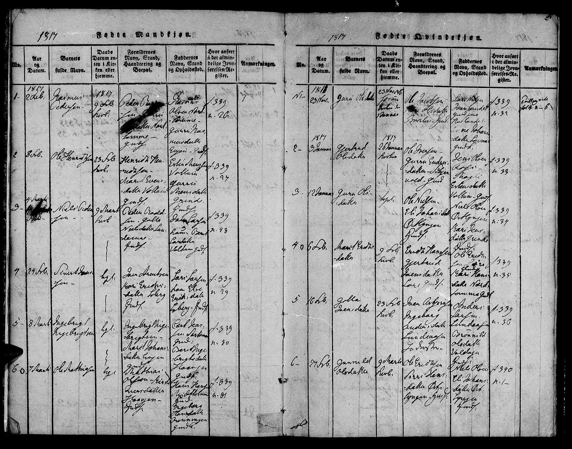 SAT, Ministerialprotokoller, klokkerbøker og fødselsregistre - Sør-Trøndelag, 692/L1102: Ministerialbok nr. 692A02, 1816-1842, s. 5