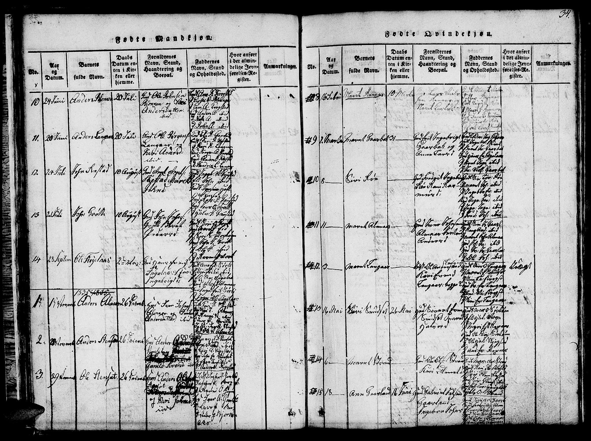 SAT, Ministerialprotokoller, klokkerbøker og fødselsregistre - Sør-Trøndelag, 694/L1130: Klokkerbok nr. 694C02, 1816-1857, s. 34