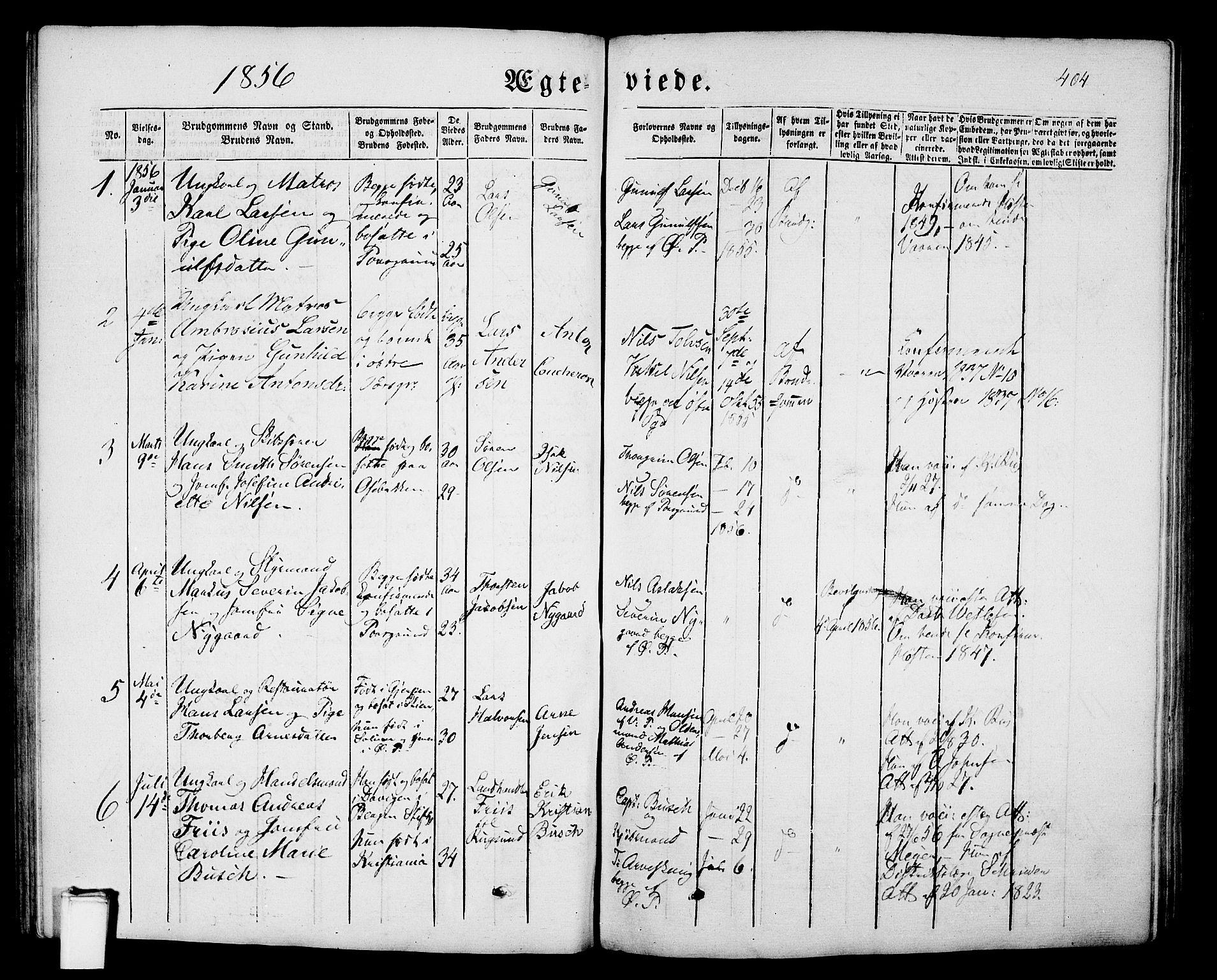 SAKO, Porsgrunn kirkebøker , G/Gb/L0004: Klokkerbok nr. II 4, 1853-1882, s. 404