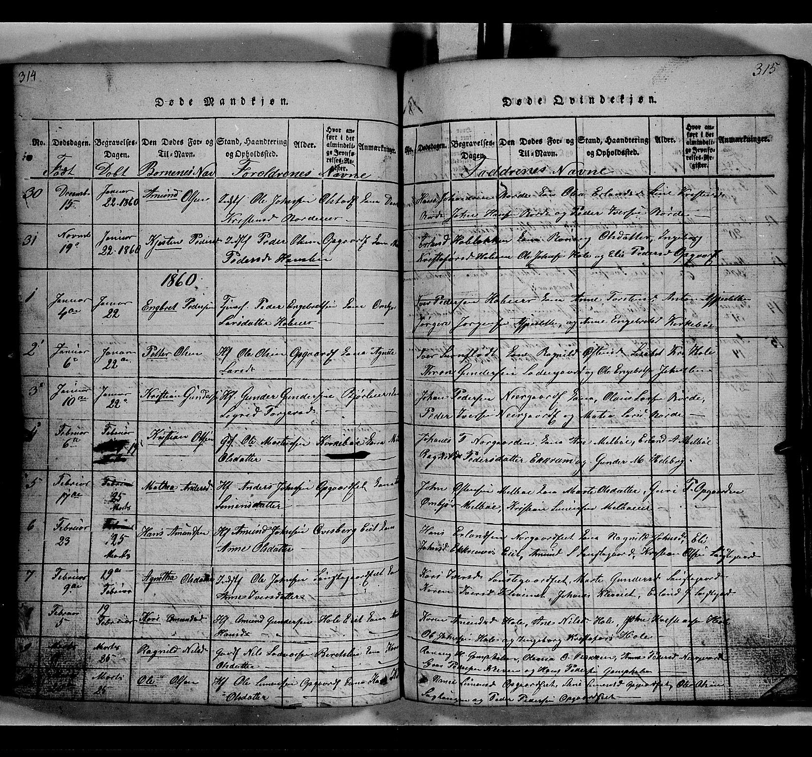 SAH, Gausdal prestekontor, Klokkerbok nr. 2, 1818-1874, s. 314-315