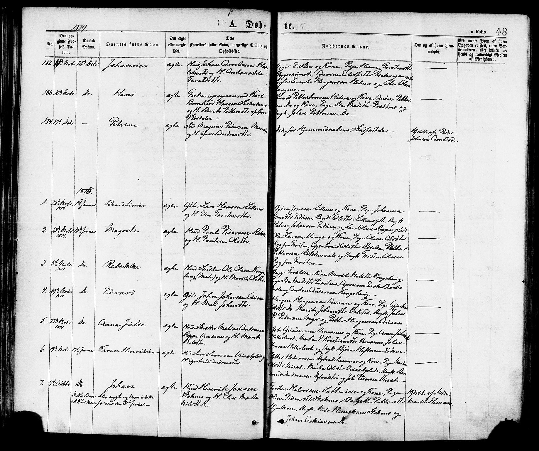 SAT, Ministerialprotokoller, klokkerbøker og fødselsregistre - Nord-Trøndelag, 709/L0076: Ministerialbok nr. 709A16, 1871-1879, s. 48