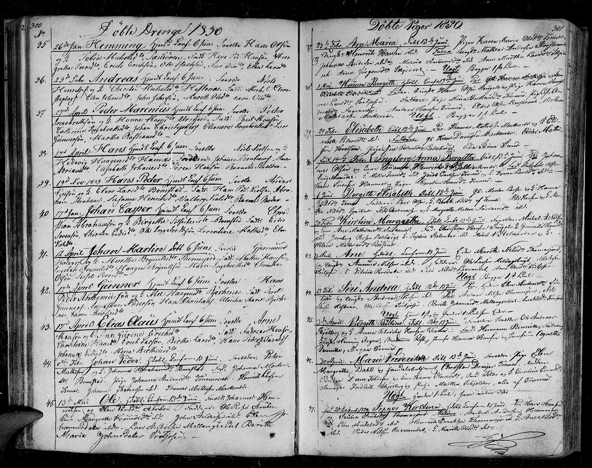 SATØ, Tromsø sokneprestkontor/stiftsprosti/domprosti, G/Ga/L0008kirke: Ministerialbok nr. 8, 1829-1837, s. 300-301