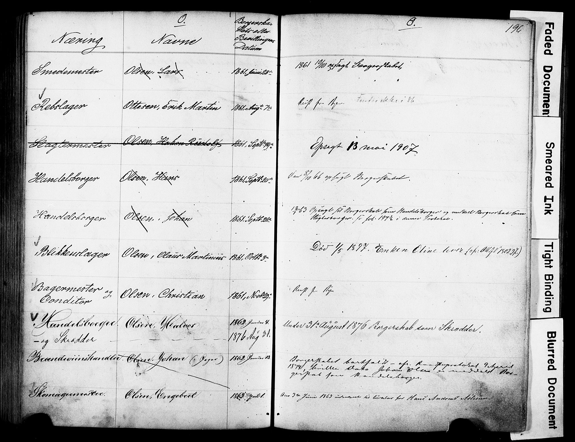 SAO, Kristiania magistrat, F/Fb/L0004: Borgerrulle, 1860-1879, s. 198